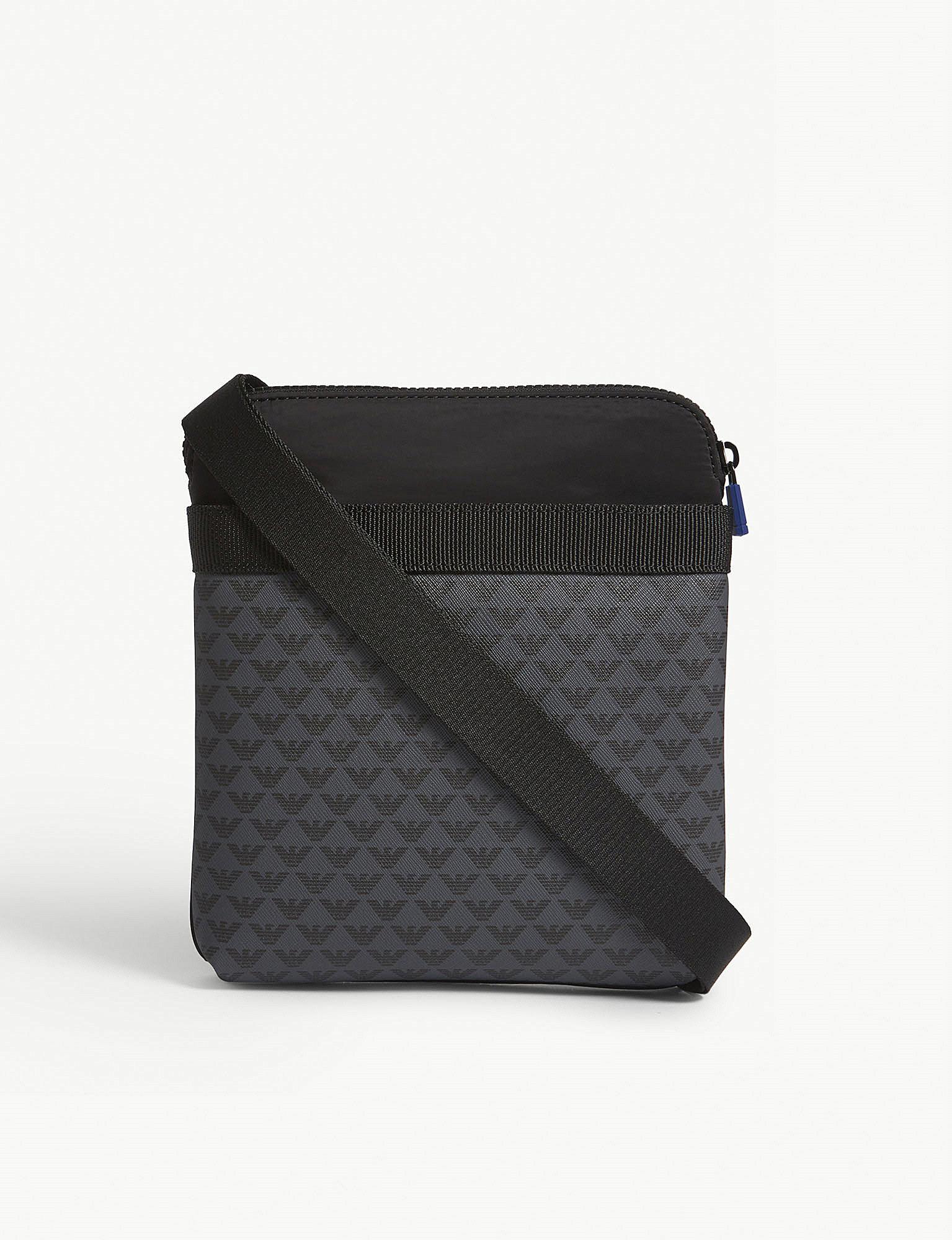 cb42d667e Emporio Armani Brand Logo Print Messenger Bag in Black for Men - Lyst