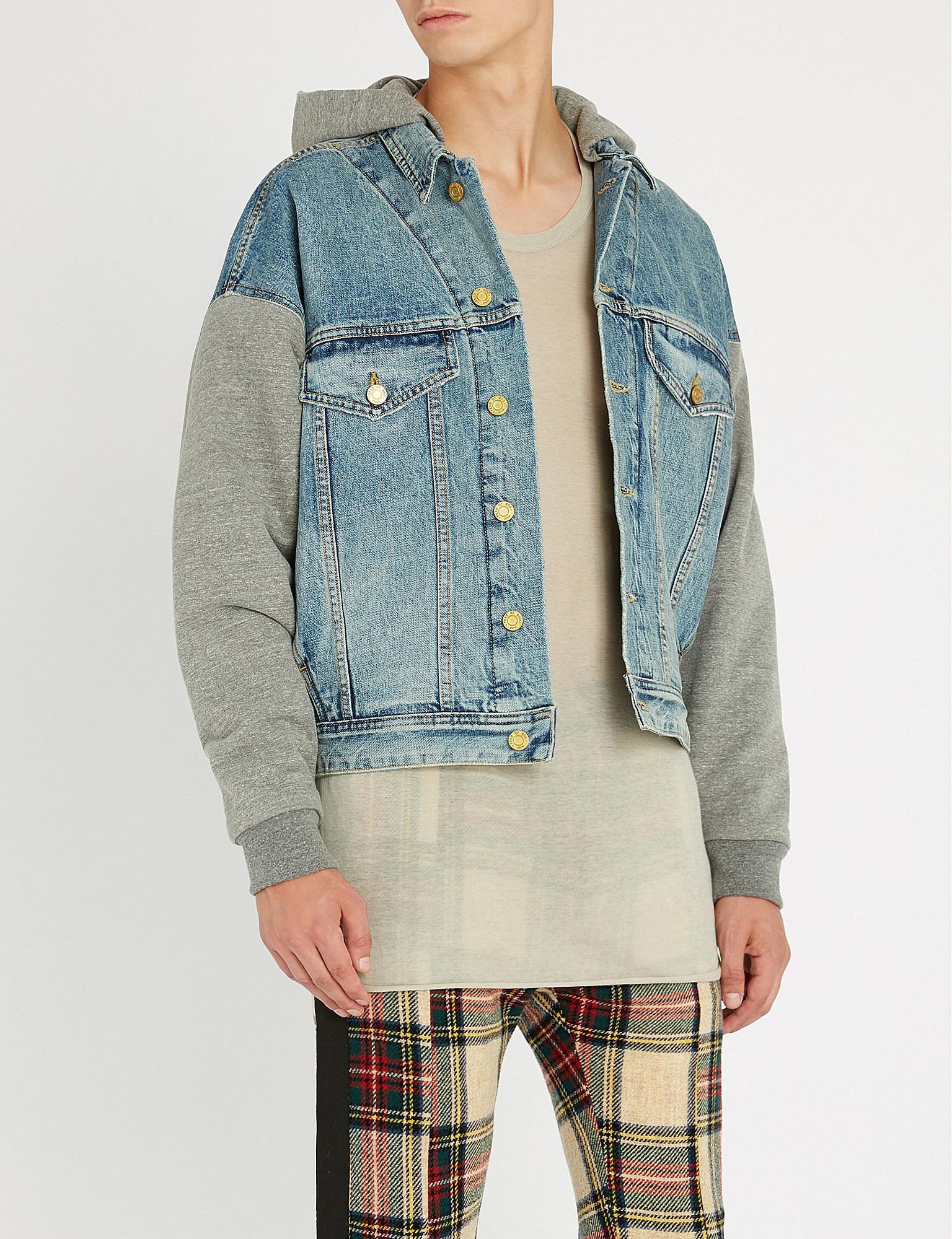 fd00f80f40 Fear Of God Hooded Stretch-denim Jacket in Blue - Lyst