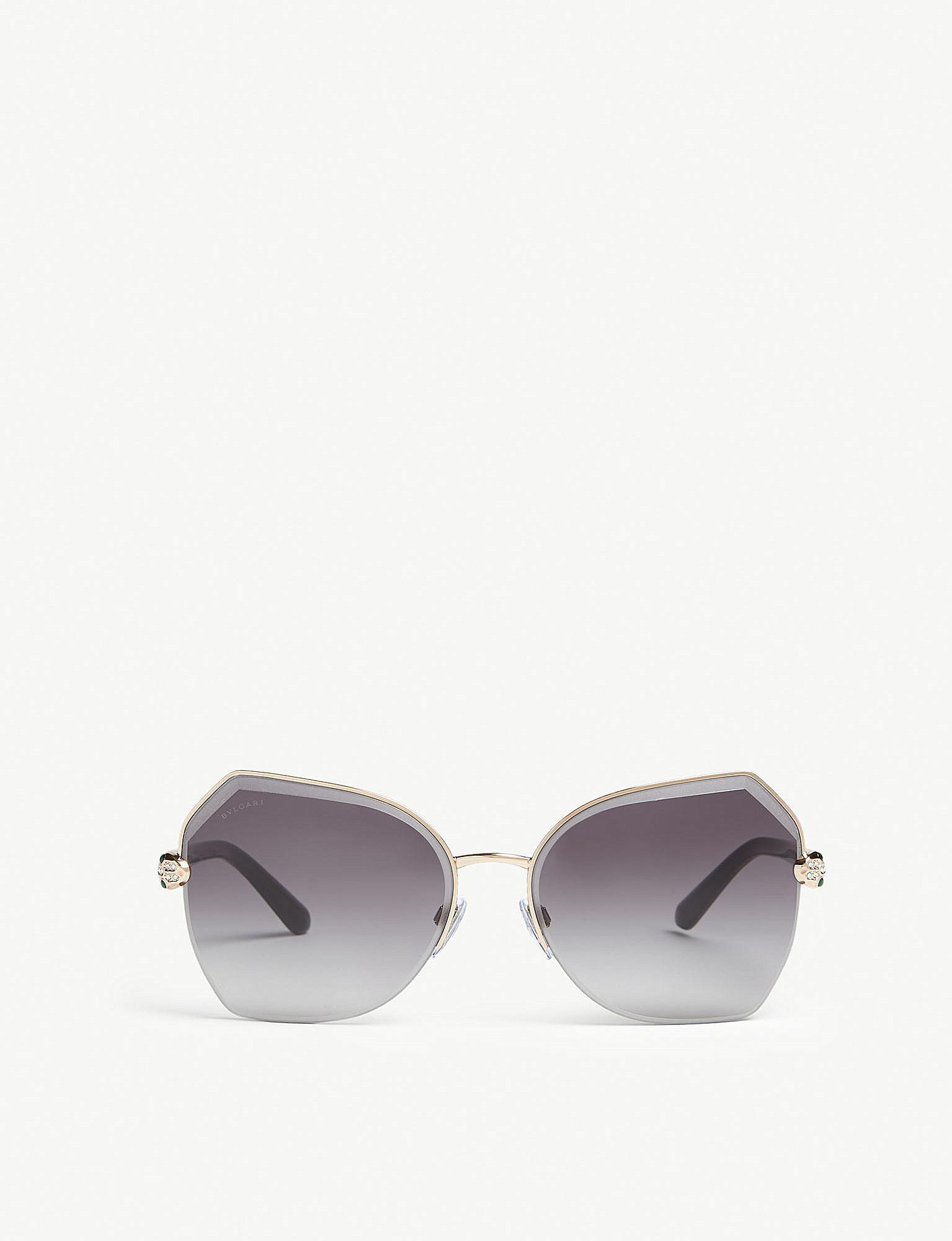 a0a0ee8f32a1 BVLGARI - Metallic Ladies Gold Luxury Bv6102b Irregular-frame Sunglasses -  Lyst. View fullscreen
