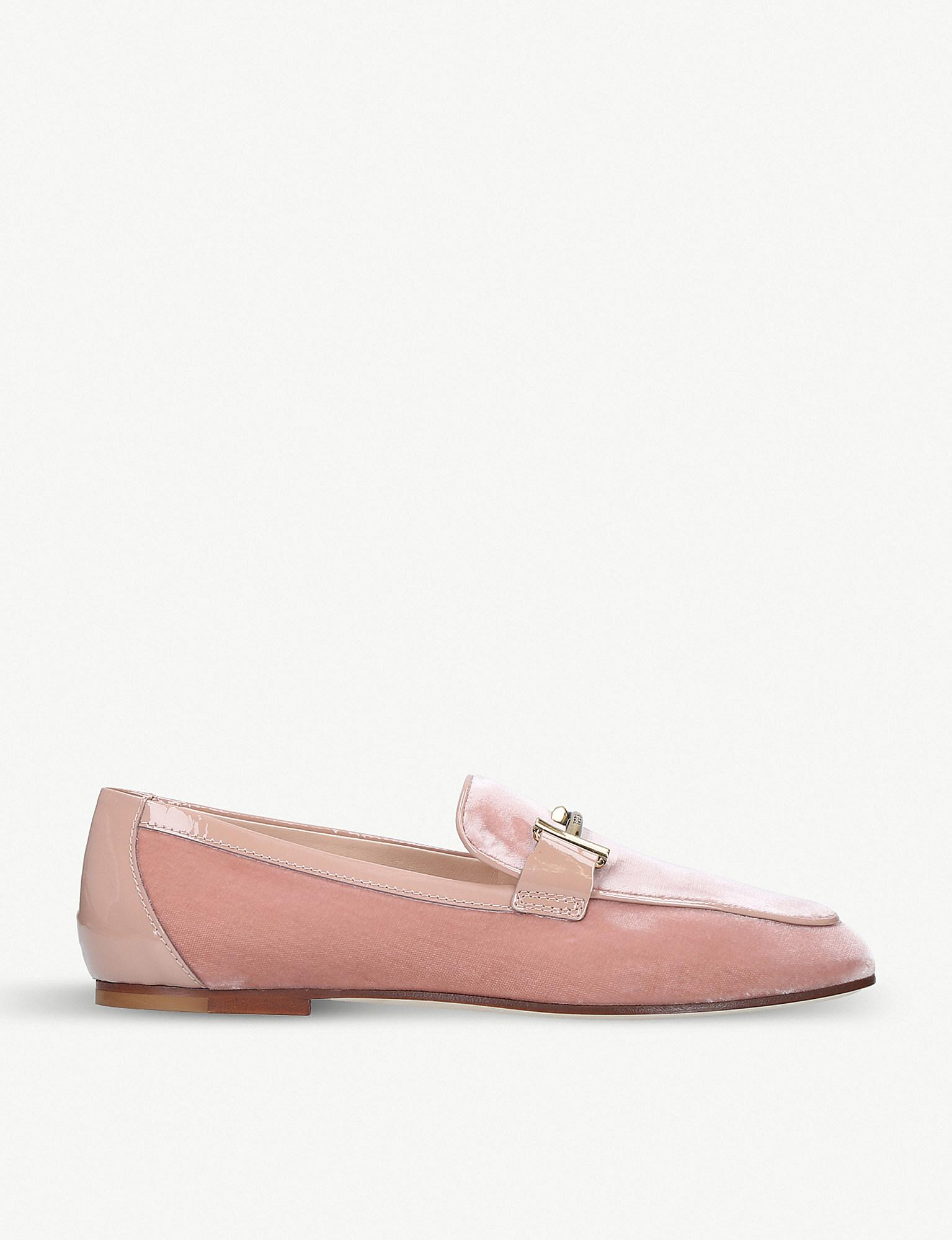 Lyst - Tod S Double T Velvet And Leather Loafers in Pink 1a56f256093ad