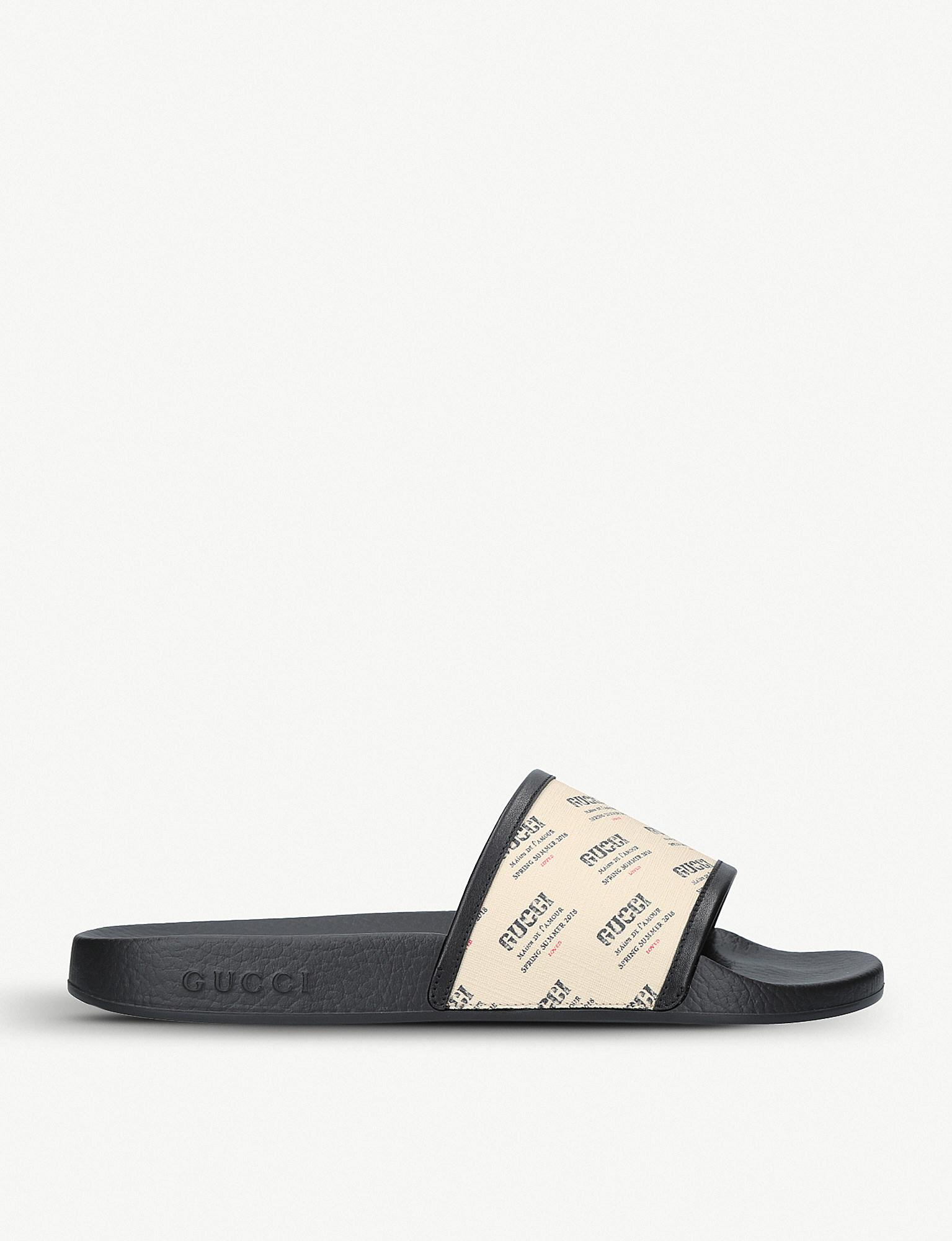 44885e0364f Gucci - White Pursuit Printed Rubber Sliders - Lyst. View fullscreen