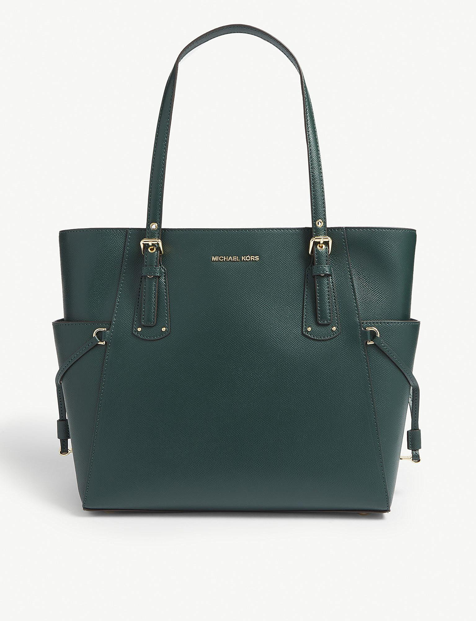 1ad43434341a Lyst - MICHAEL Michael Kors Voyager Leather Tote in Green