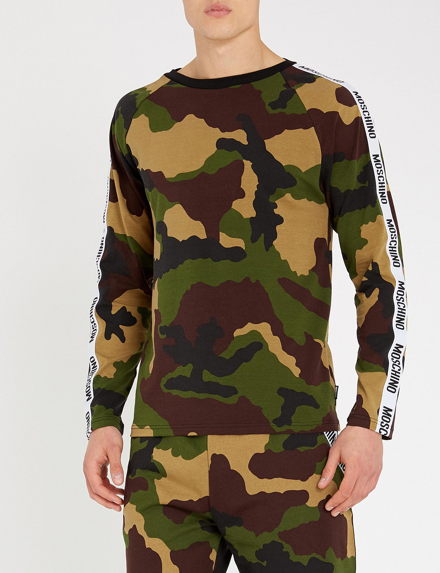 1c0741dd6b Moschino Logo Tape Camouflage-print Stretch-cotton Top in Green for ...