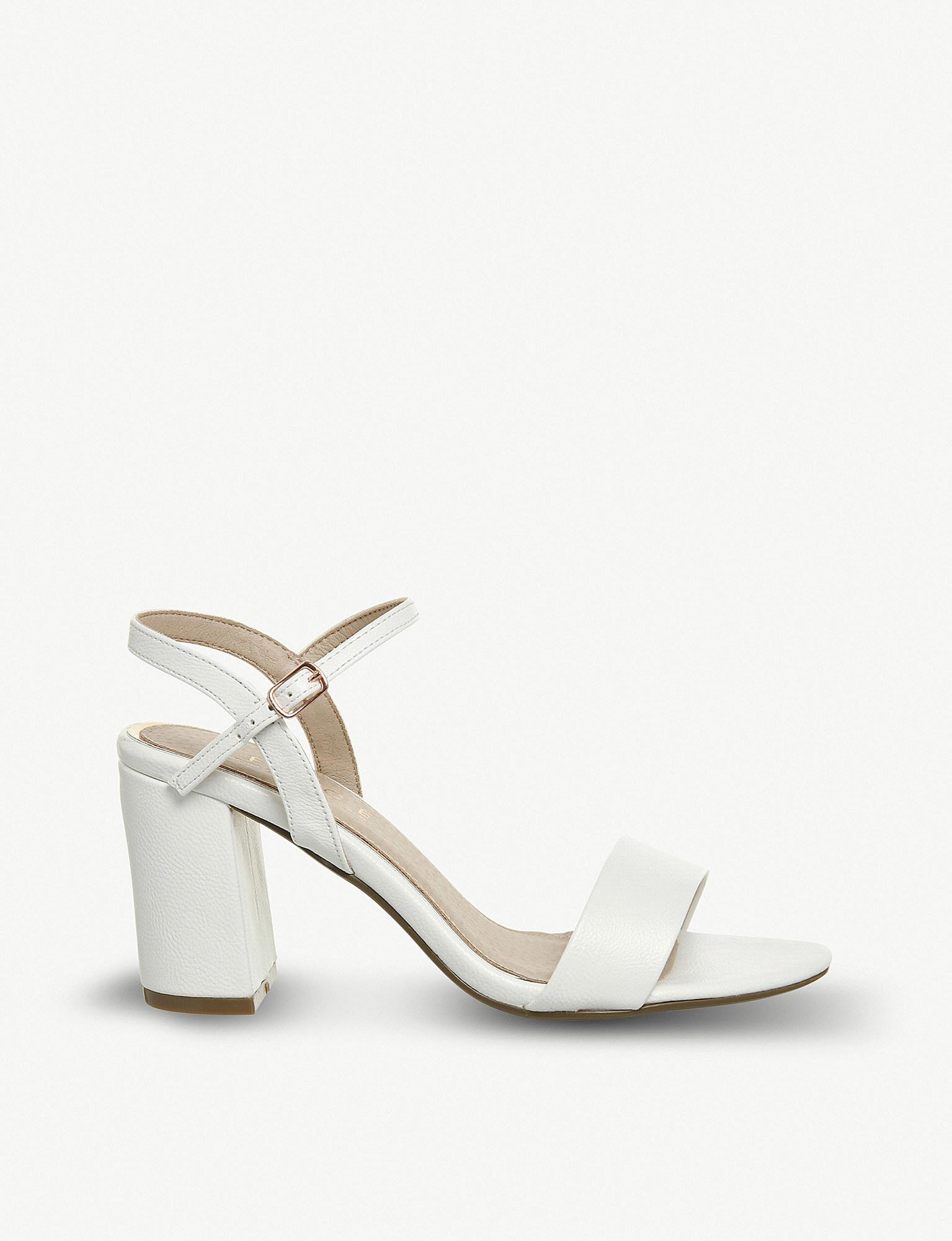 7a6222fbfeaf Office - White Modesty Two-part Heeled Sandals - Lyst. View fullscreen