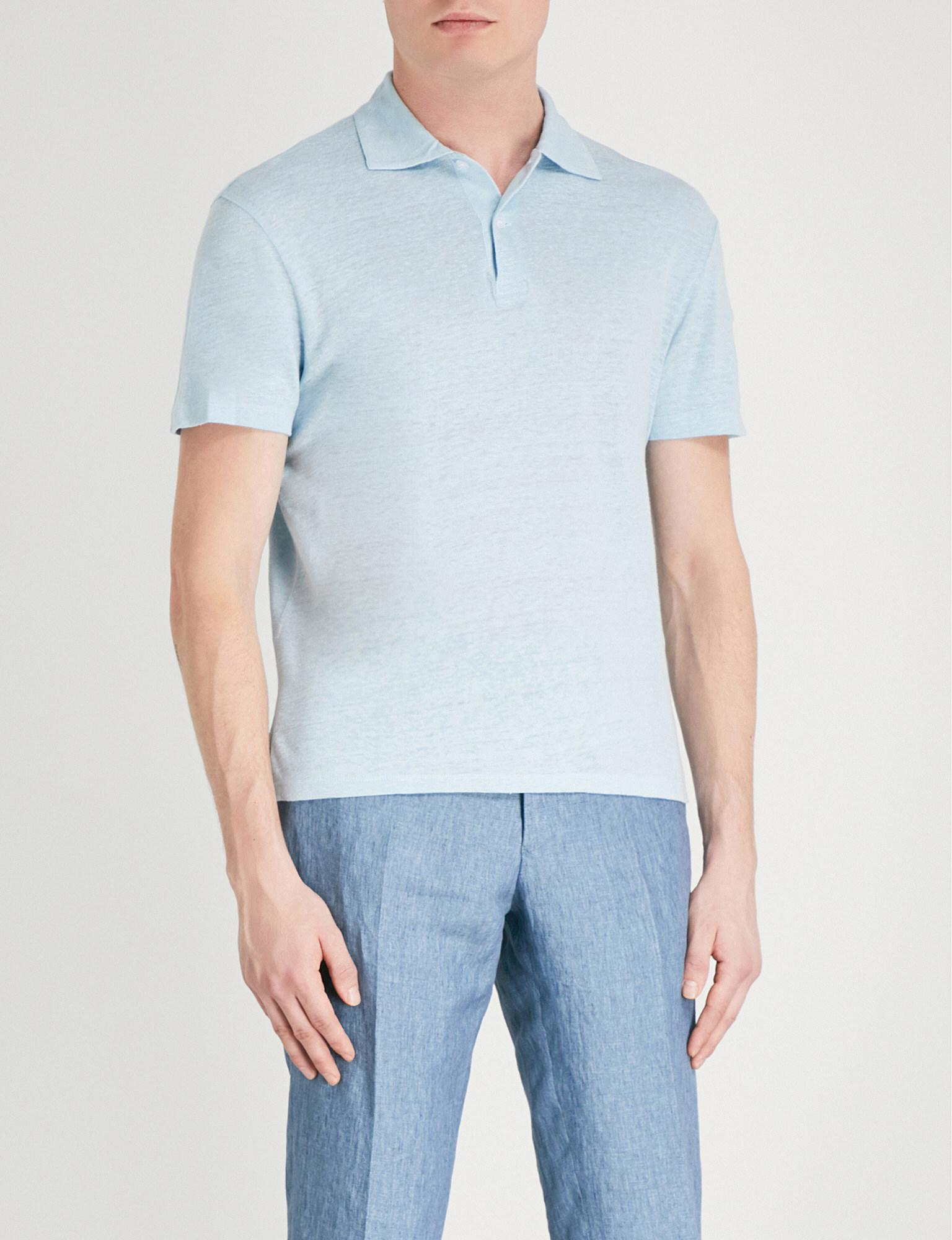 e073c09b Sandro Slim-fit Linen-jersey Polo Shirt in Blue for Men - Lyst