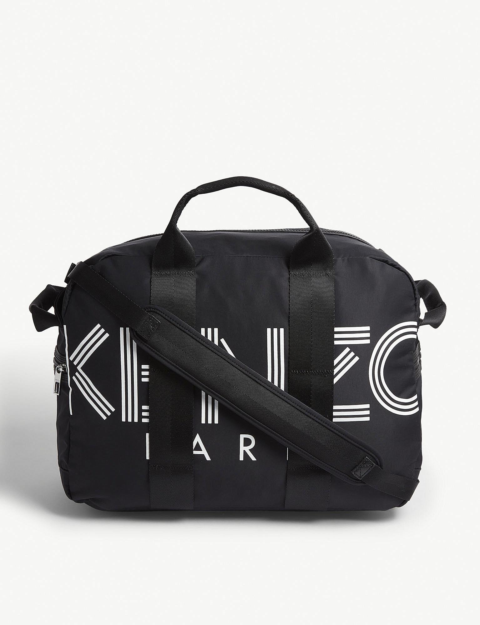 243cb8d3c7976b Kenzo Striped Logo Nylon Weekend Bag in Black for Men - Lyst