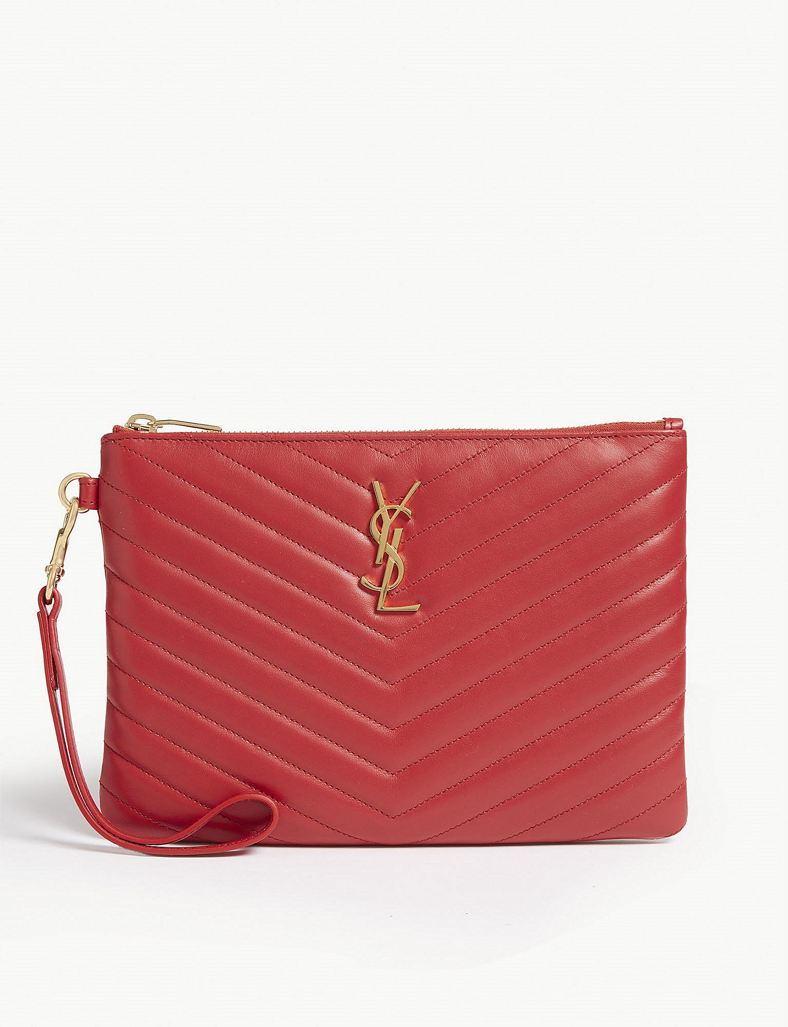 e352c2abe440 Saint Laurent Monogram Logo Quilted Leather Pouch in Red - Lyst