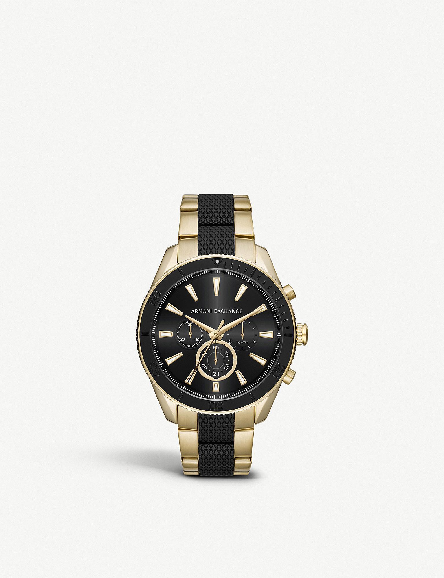 3b186fdd16a8 Lyst - Michael Kors Ax1814 Gold-plated Chronograph Watch in Metallic ...