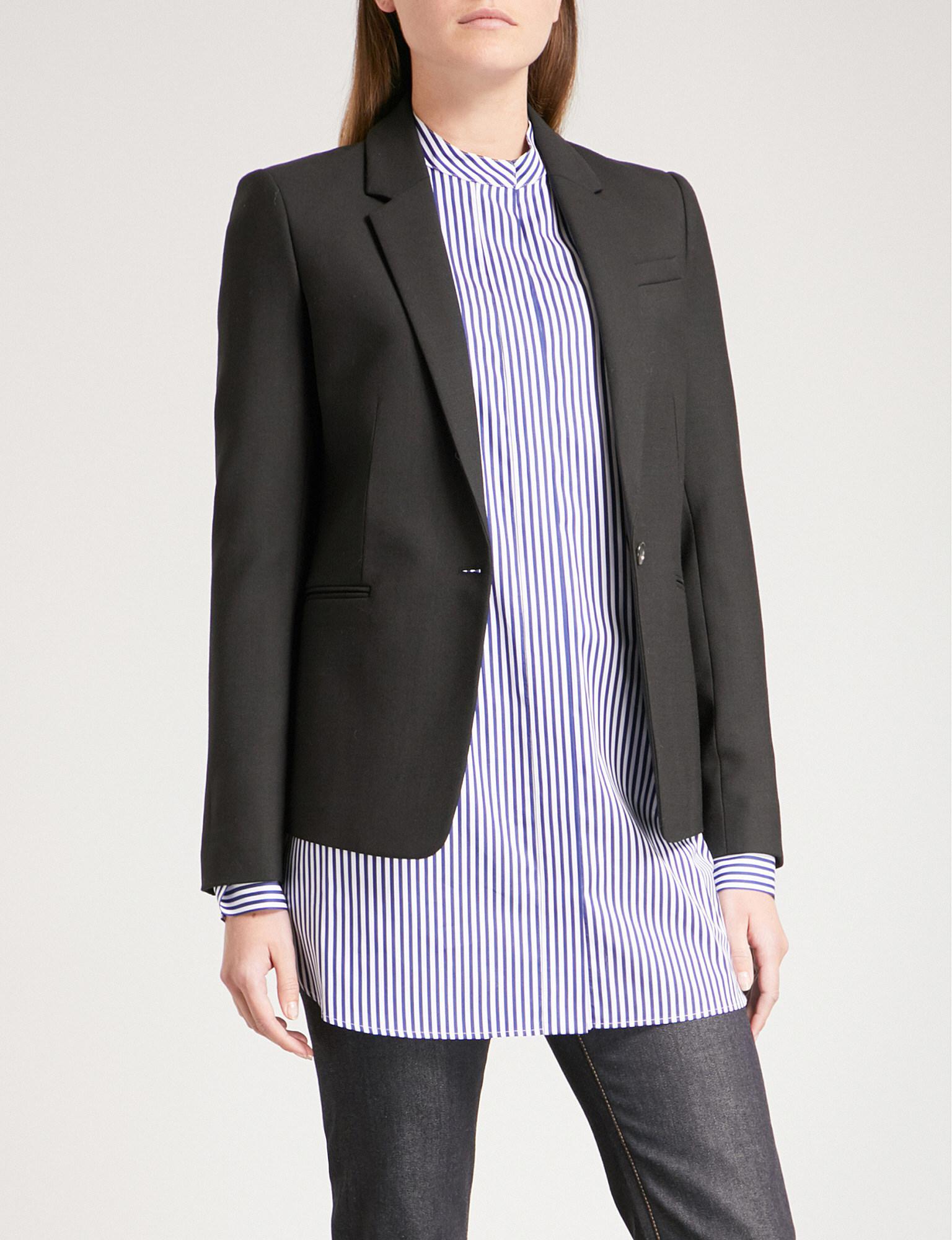 fbcadf5fa97 Joseph Single Button Stretch Wool Jacket in Black - Lyst