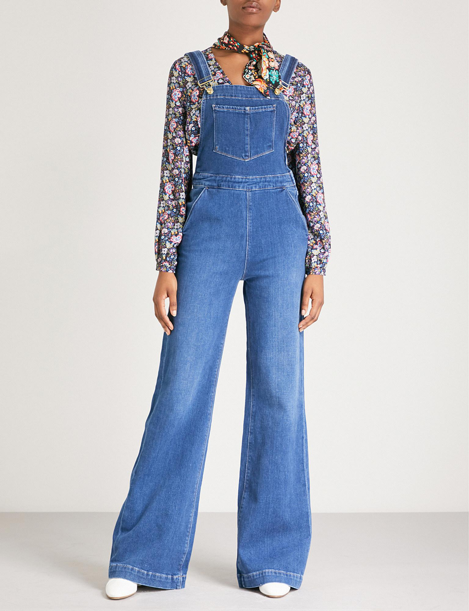 Lyst - Frame Palazzo-leg Denim Dungarees in Blue