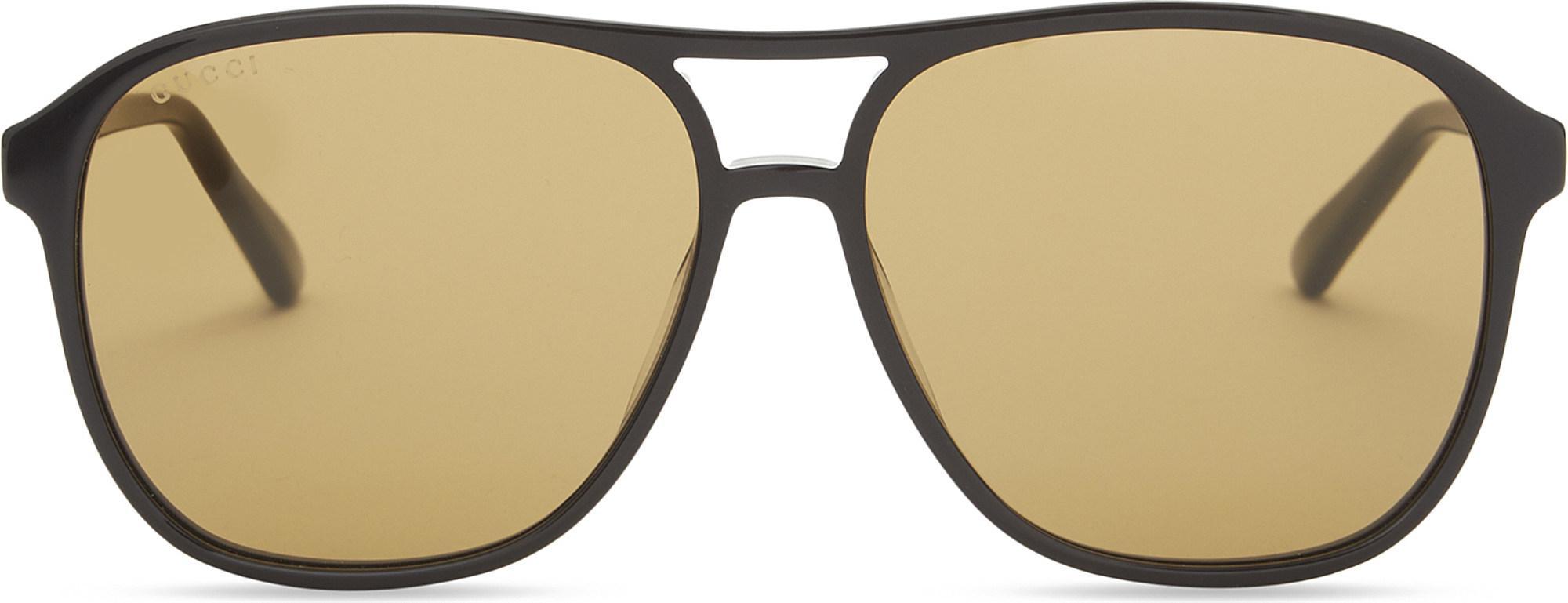 7214d3ecb48 Gucci Gg0016s Square-frame Sunglasses in Black - Lyst
