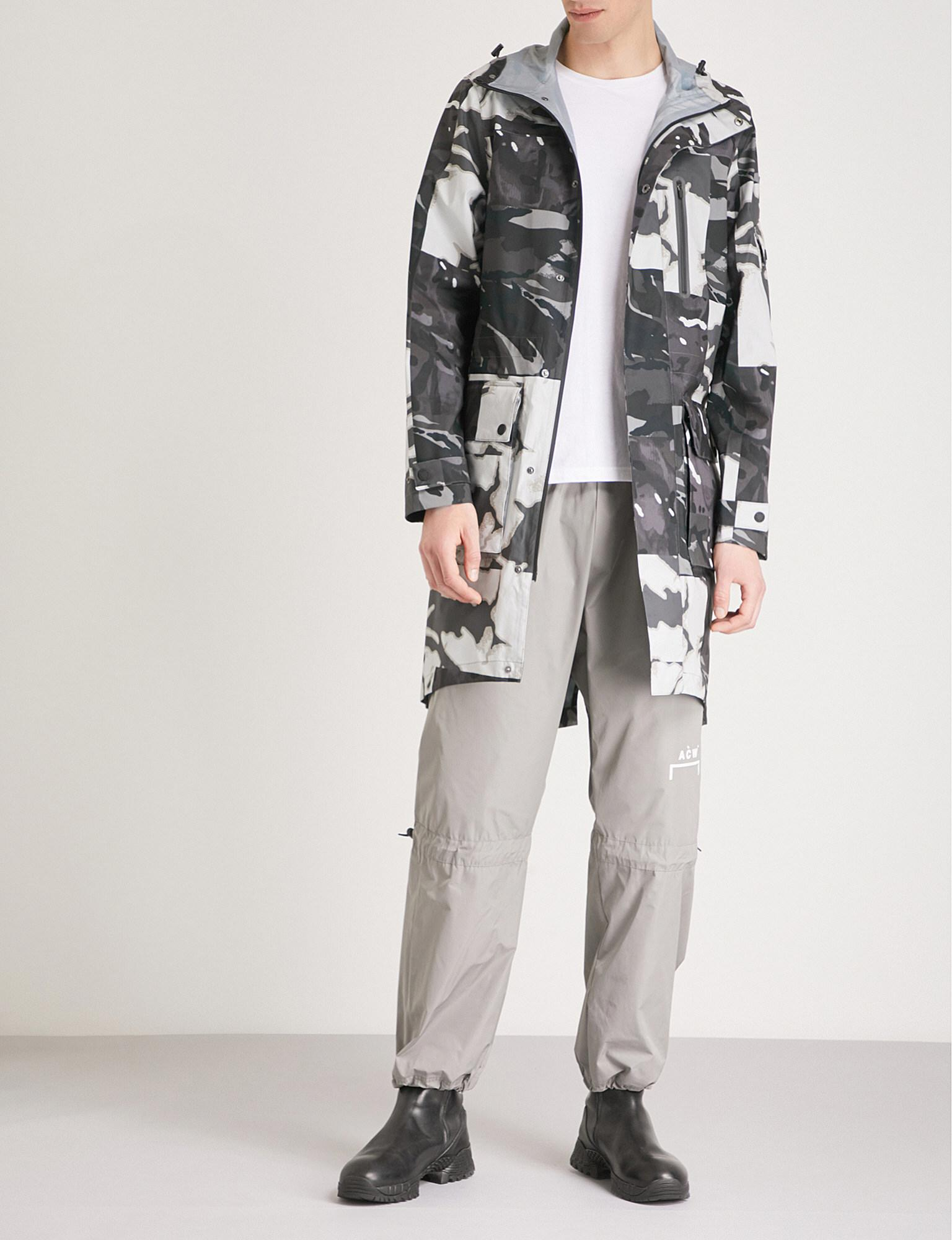 Christopher Raeburn. Men's Gray Abstract Camouflage-print Hooded Shell Parka Coat