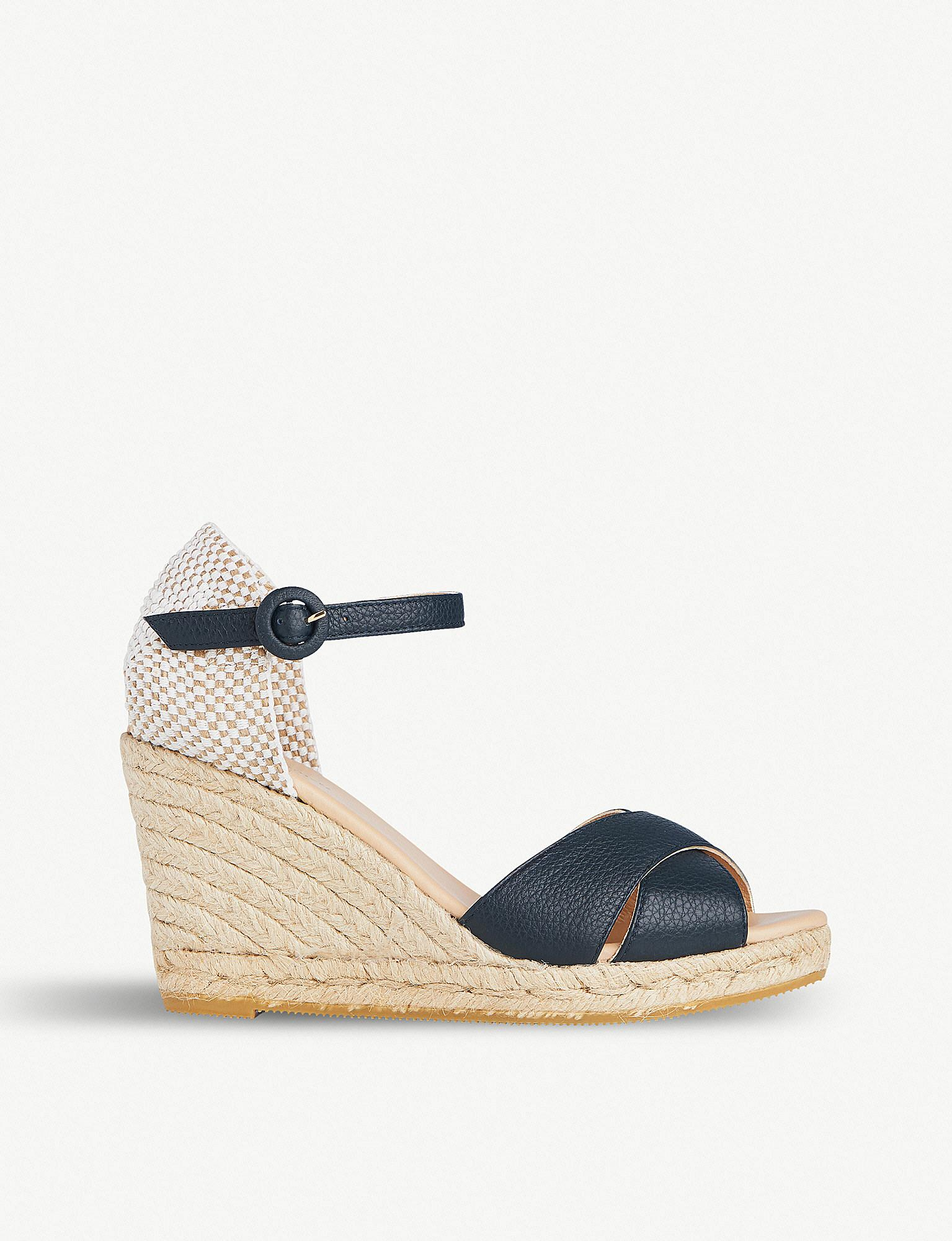 e6e87a3979 Lyst - L.K.Bennett Angele Patterned Leather Sandals in Blue