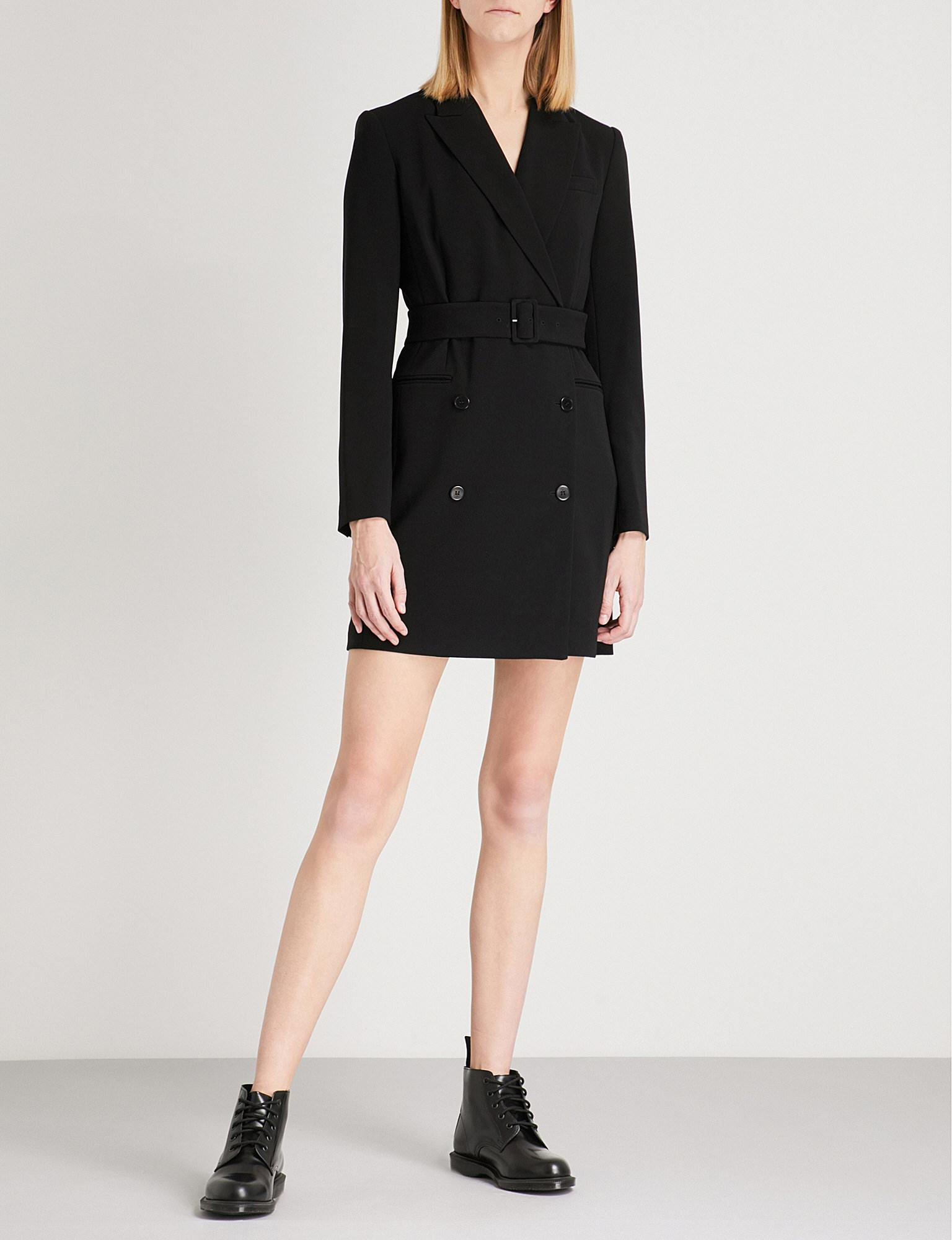 cb7d74989fb Theory Double-breasted Crepe Blazer Dress in Black - Lyst