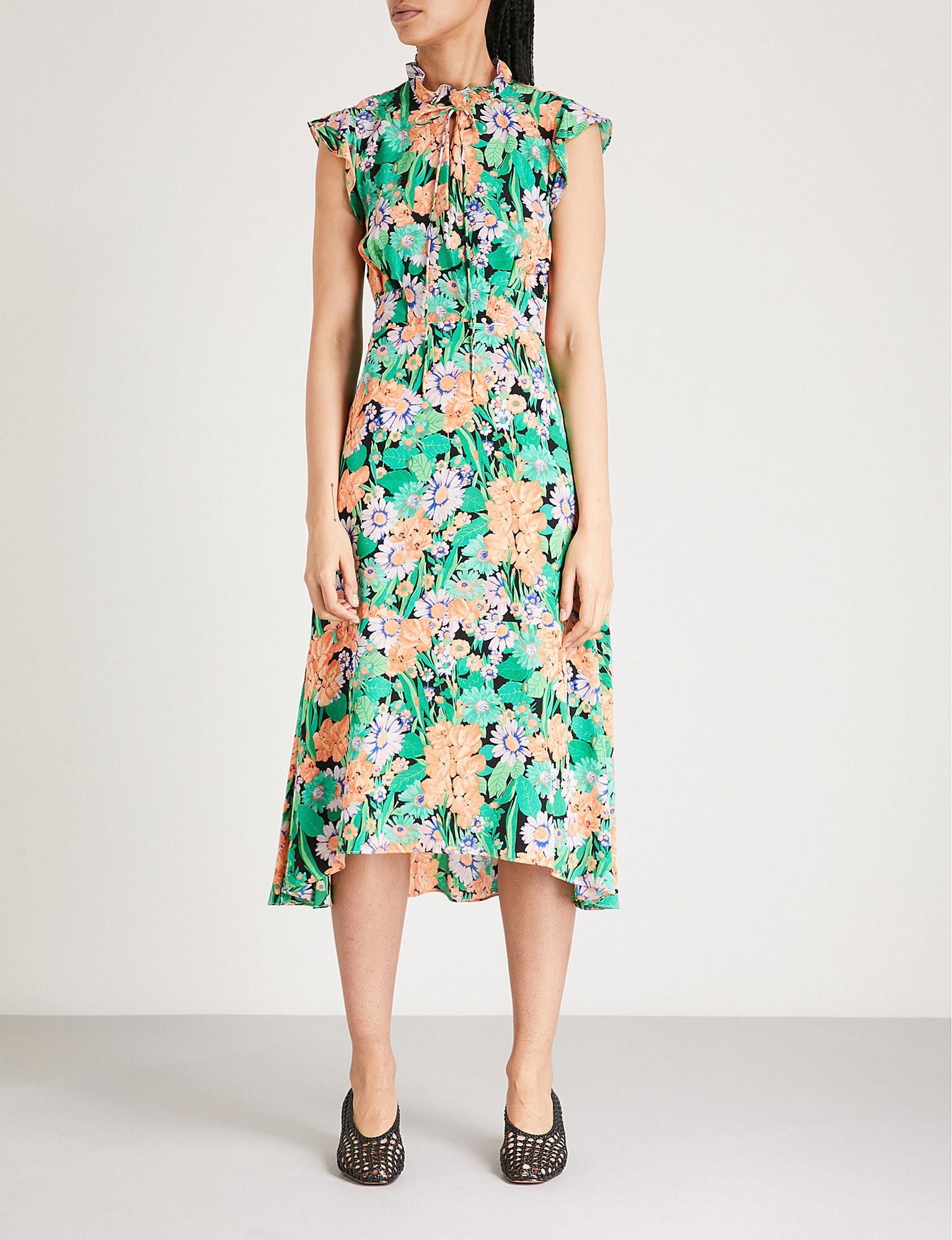 208721df3d1 Sandro Floral-print Silk-crepe Dress in Green - Lyst