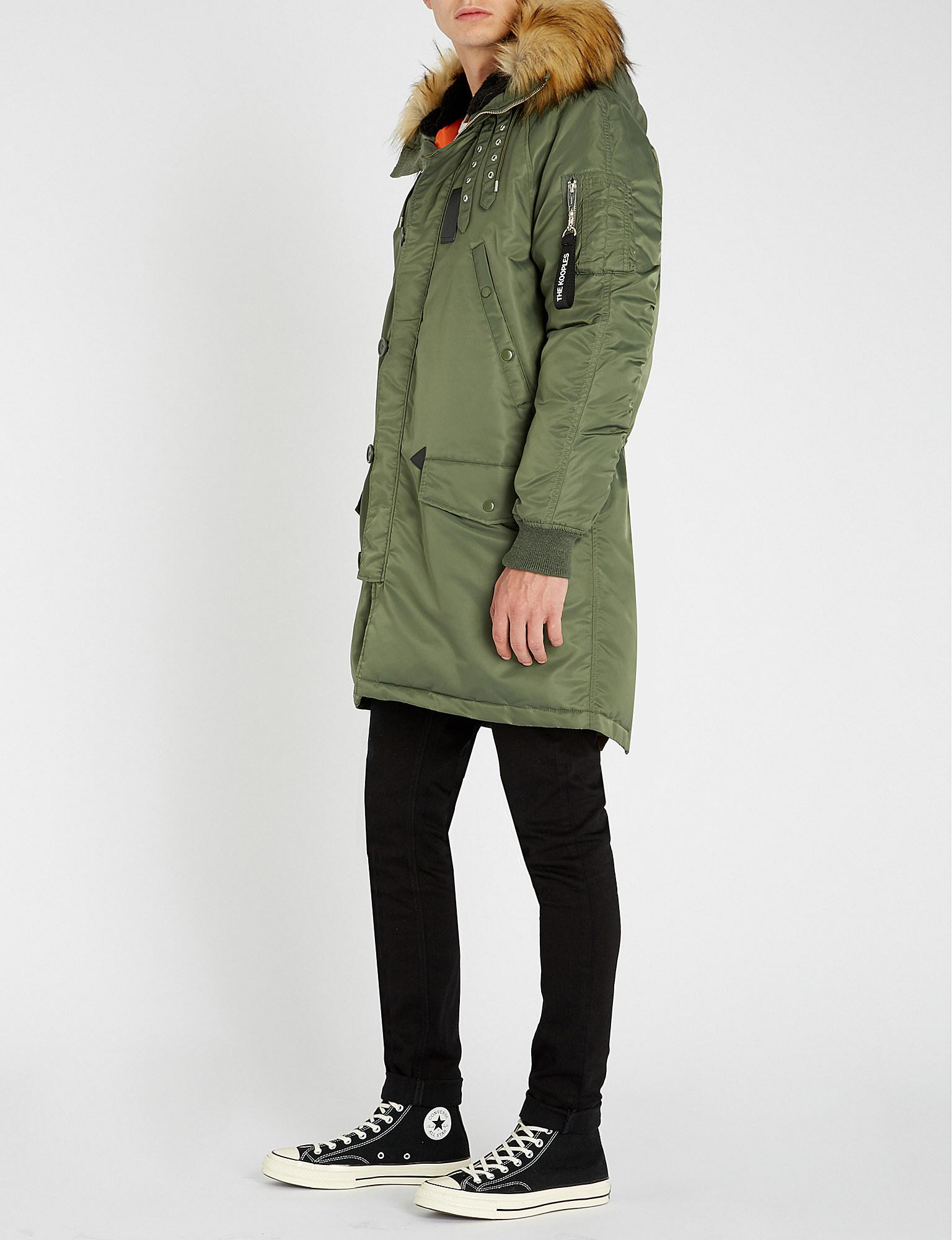 4ced537223 The Kooples - Green Faux Fur-trim Hooded Shell Jacket for Men - Lyst. View  fullscreen