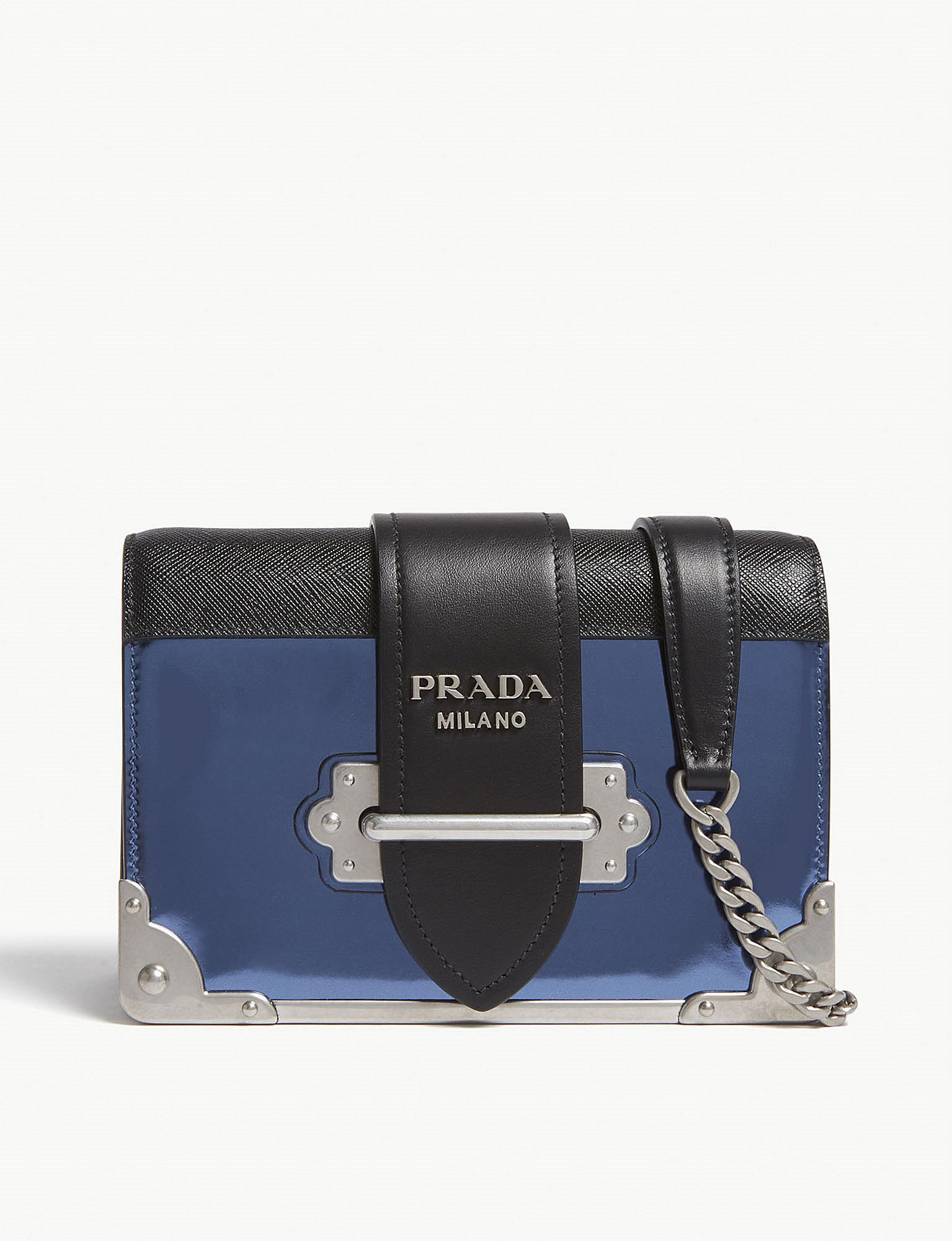 77bddbd97291 Prada Blue Cahier Small Metallic Leather Shoulder Bag in Blue - Lyst