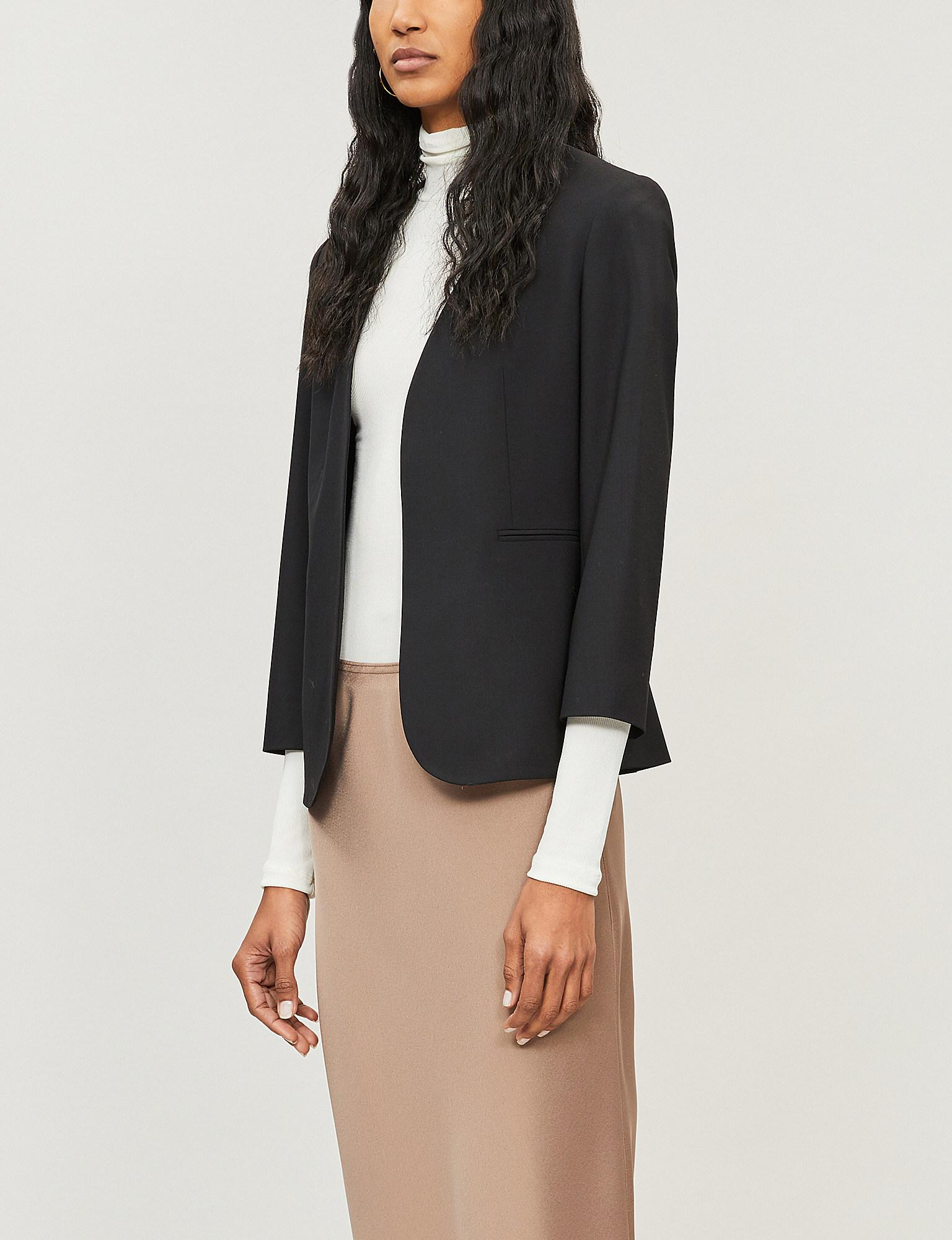 829826e8881c Theory - Womens Black Lindrayia Cropped Stretch-wool Jacket - Lyst. View  fullscreen