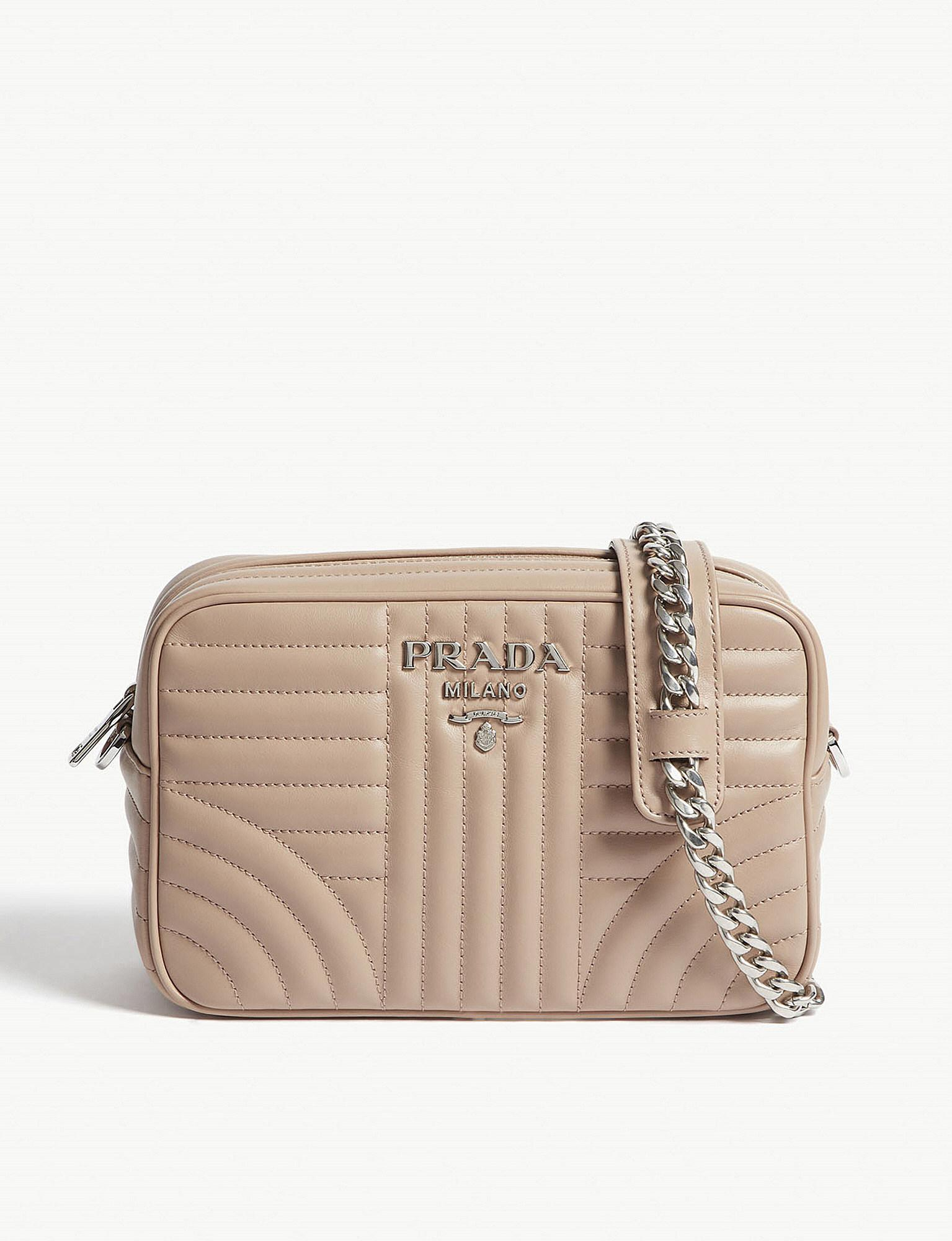 4c8184c9a523 Lyst - Prada Ladies Blush Quilted Leather Camera Cross-body Bag