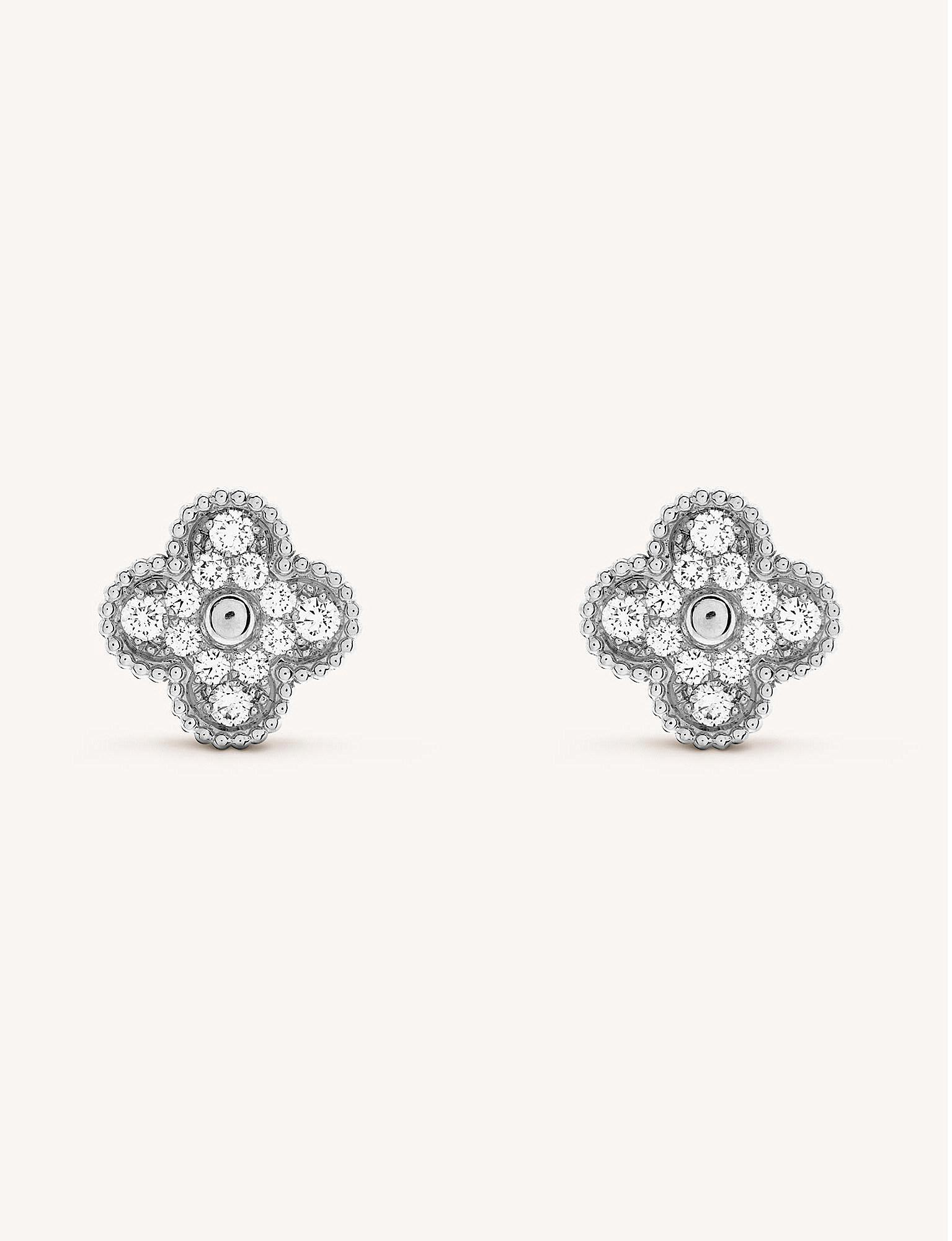 b1250b4b55f4 Van Cleef   Arpels. Women s Metallic Sweet Alhambra White-gold And Diamond  Stud Earrings