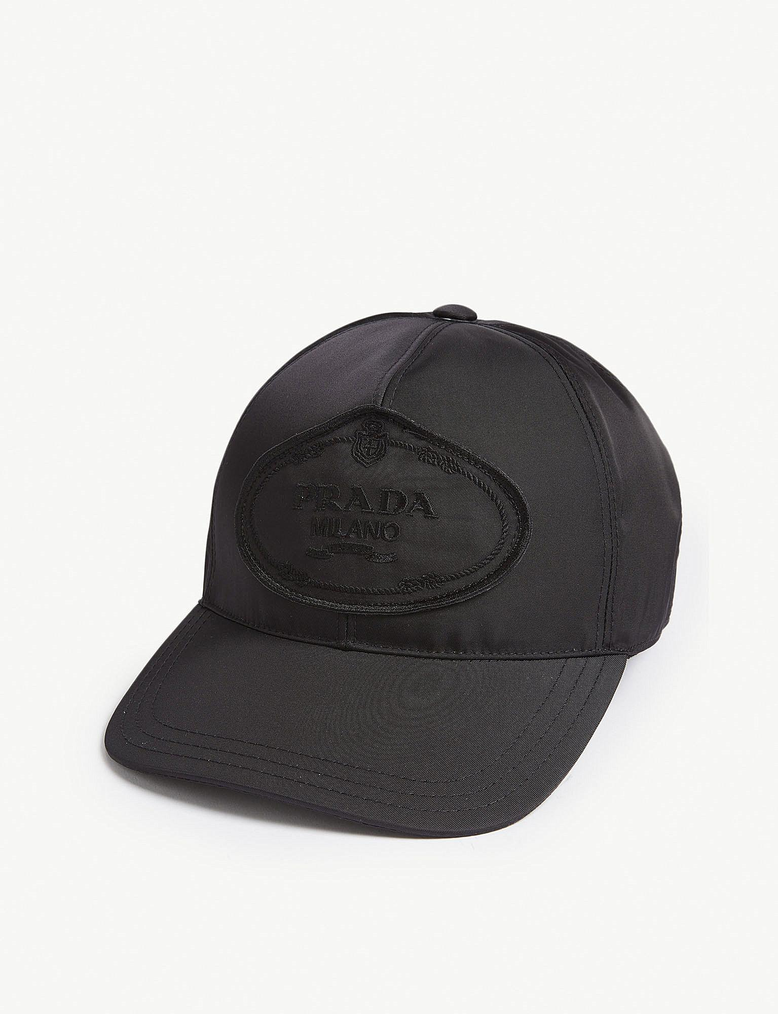 534832f46bf Lyst - Prada Womens Black Logo Nylon Baseball Cap in Black - Save 26%
