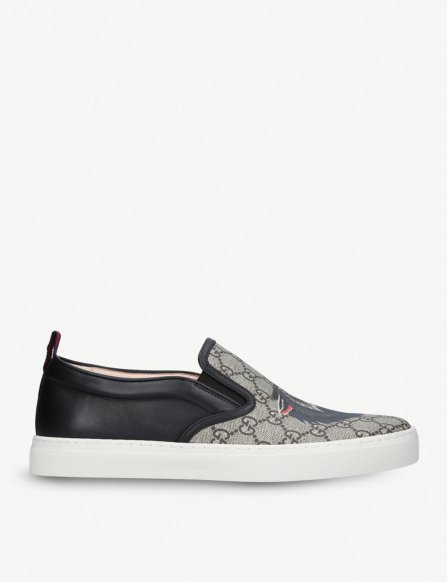 a1ac586e4 Gucci Dublin Wolf-print Canvas Skate Shoes in Brown for Men - Lyst