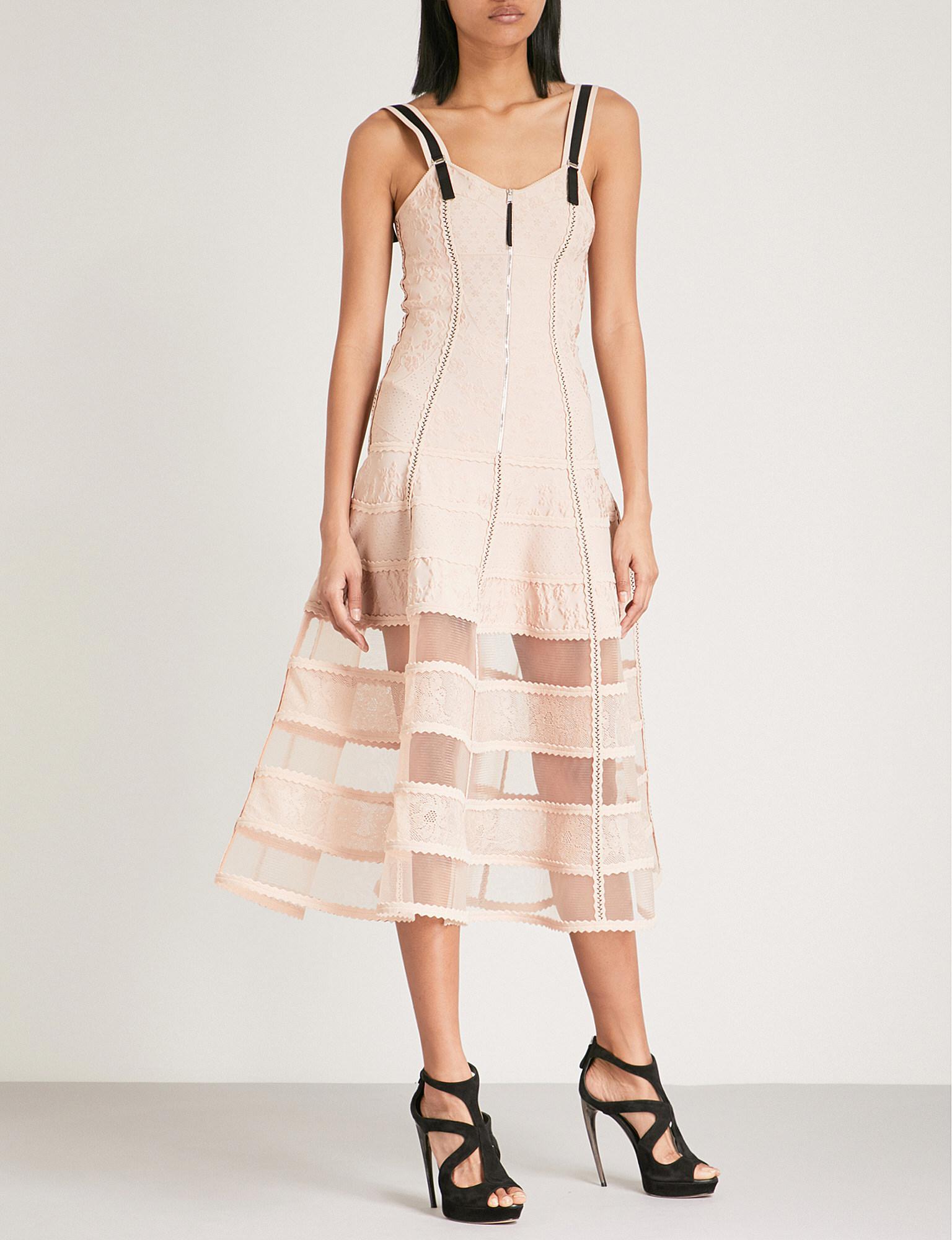 2e2963bc56 Alexander Mcqueen Bustier Jacquard-knit Dress in Pink - Lyst