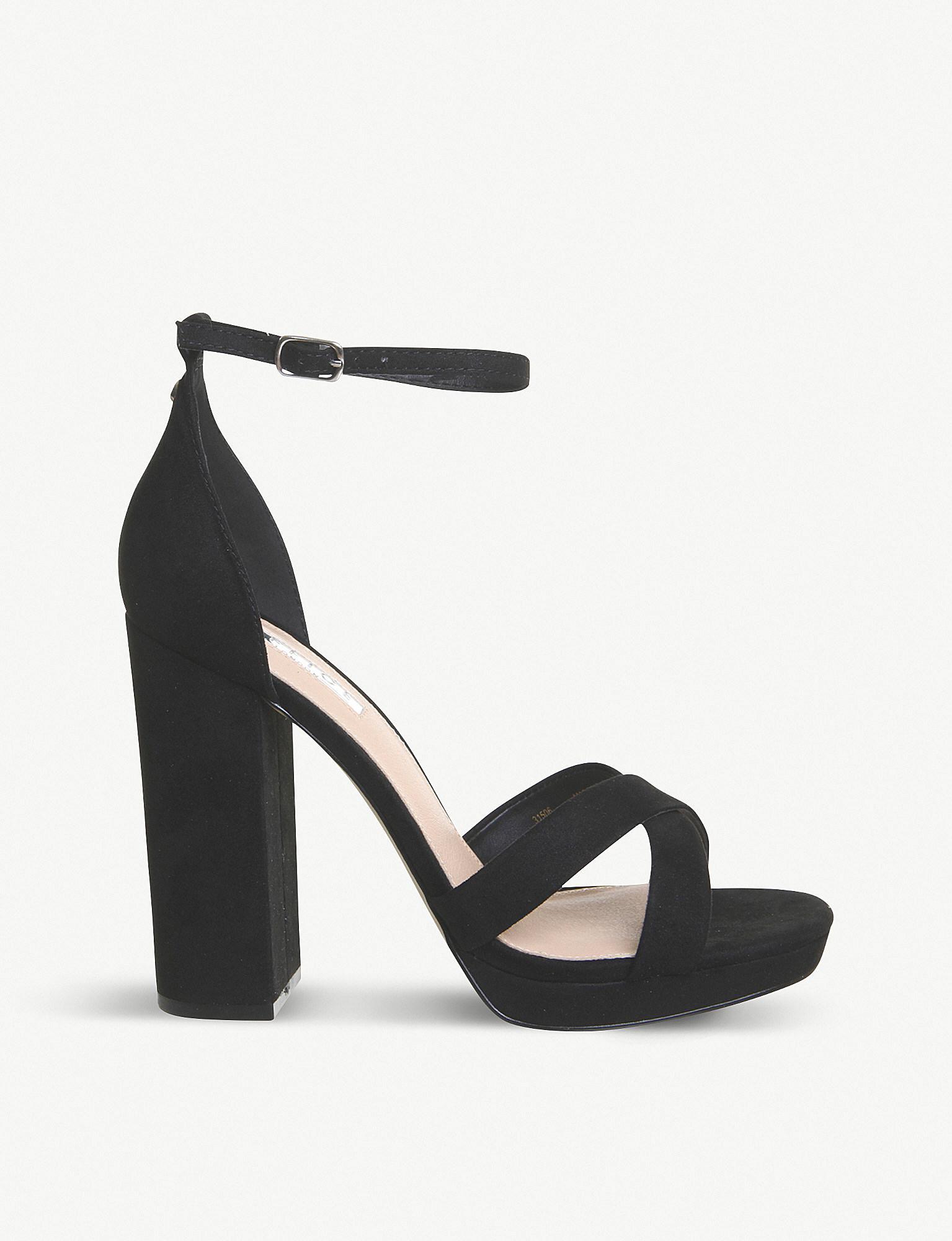 5d9f6b36d1a9b1 Office - Black Hiccup Faux-leather Platform-heeled Sandals - Lyst. View  fullscreen