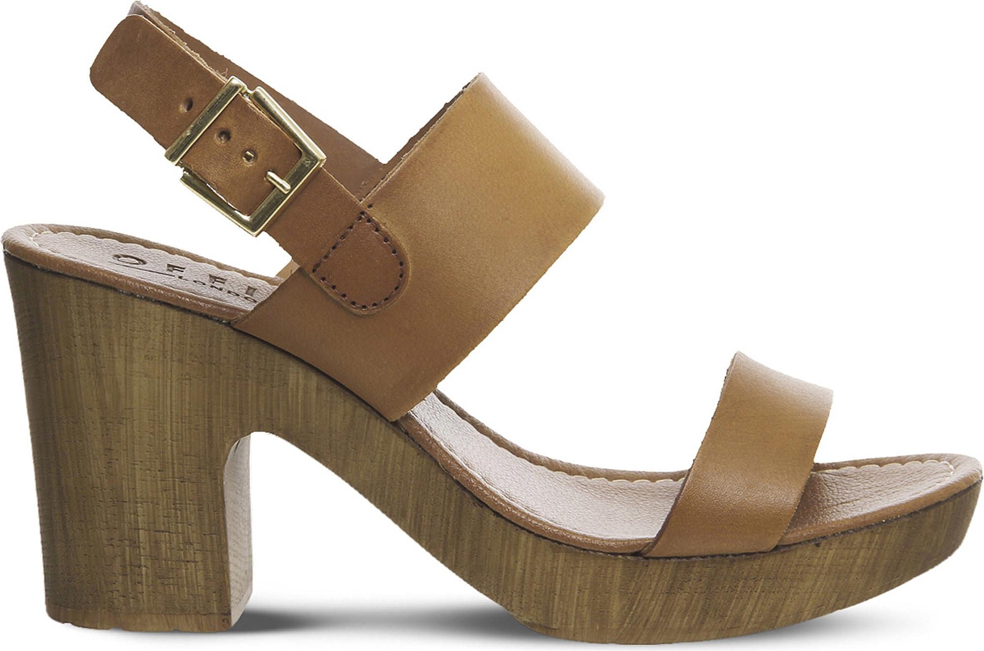 Tan leather OFFICE Michelle Wood leather sandals