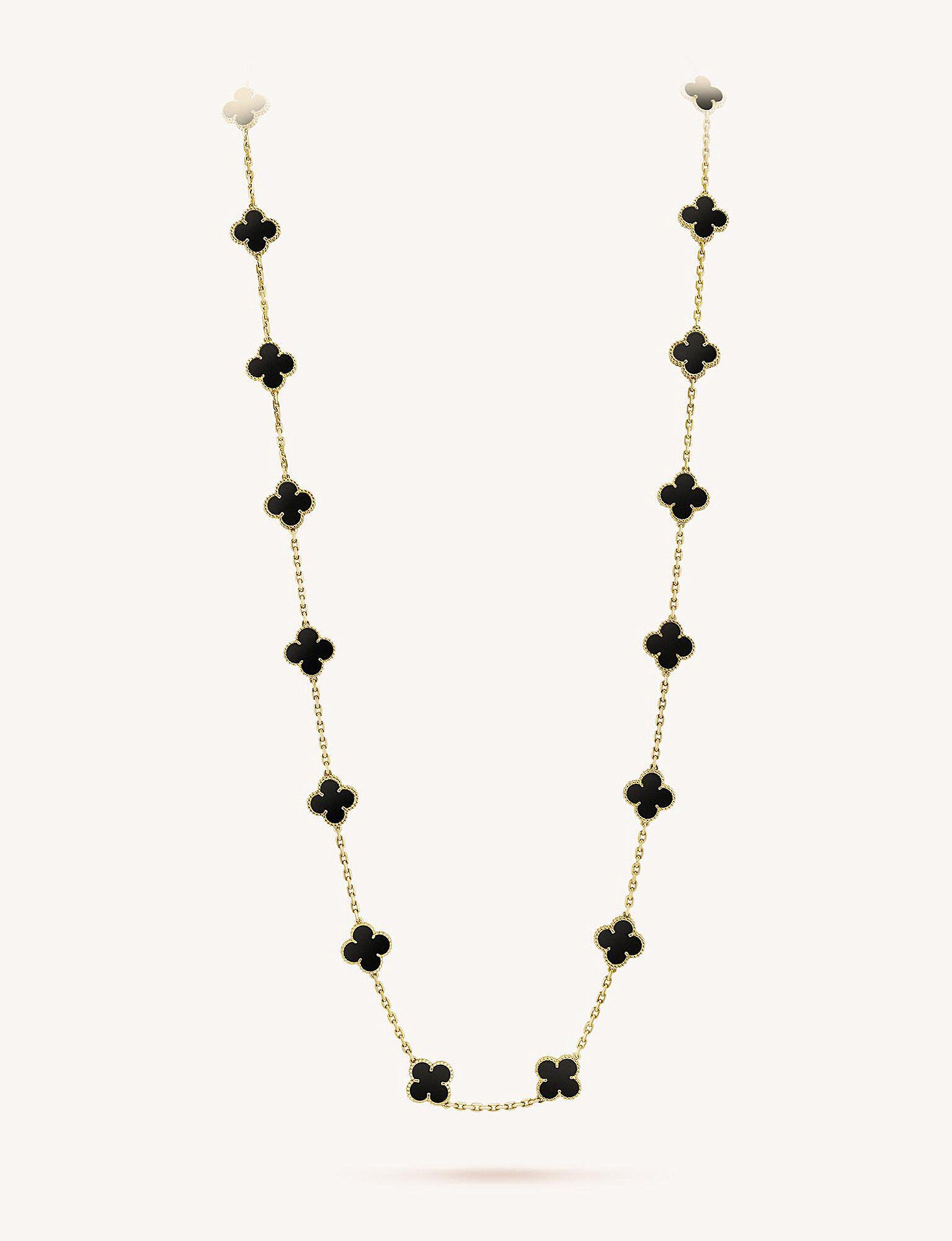 1b5dba03054a Van Cleef   Arpels. Women s Metallic Vintage Alhambra Gold And Onyx Necklace