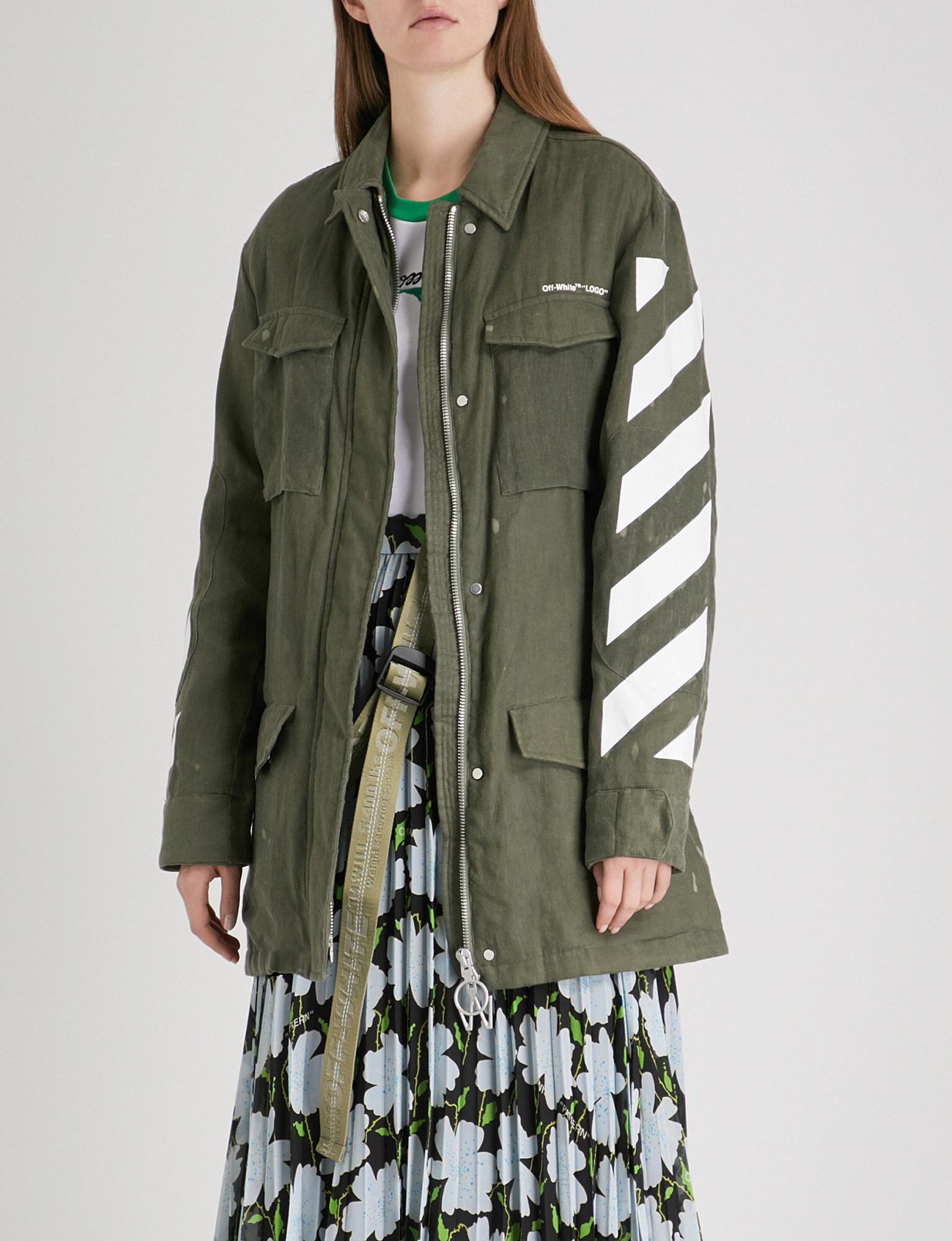 272f49f3242c Off-White c o Virgil Abloh Diagonal Stripes Linen Jacket in Green - Lyst