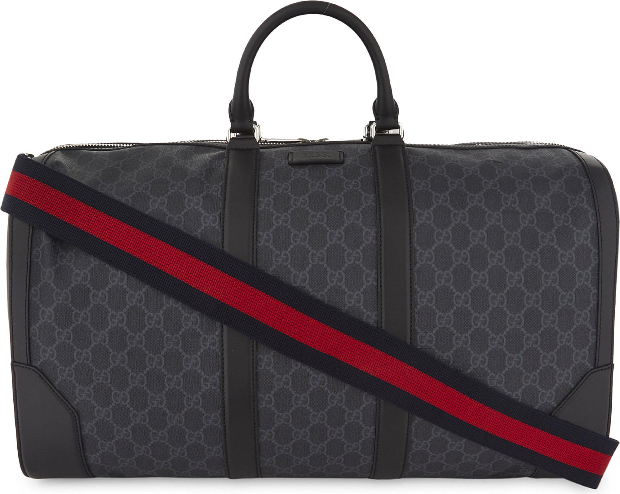 c17966594fd9 Lyst - Gucci Supreme Canvas Duffel Bag in Black for Men
