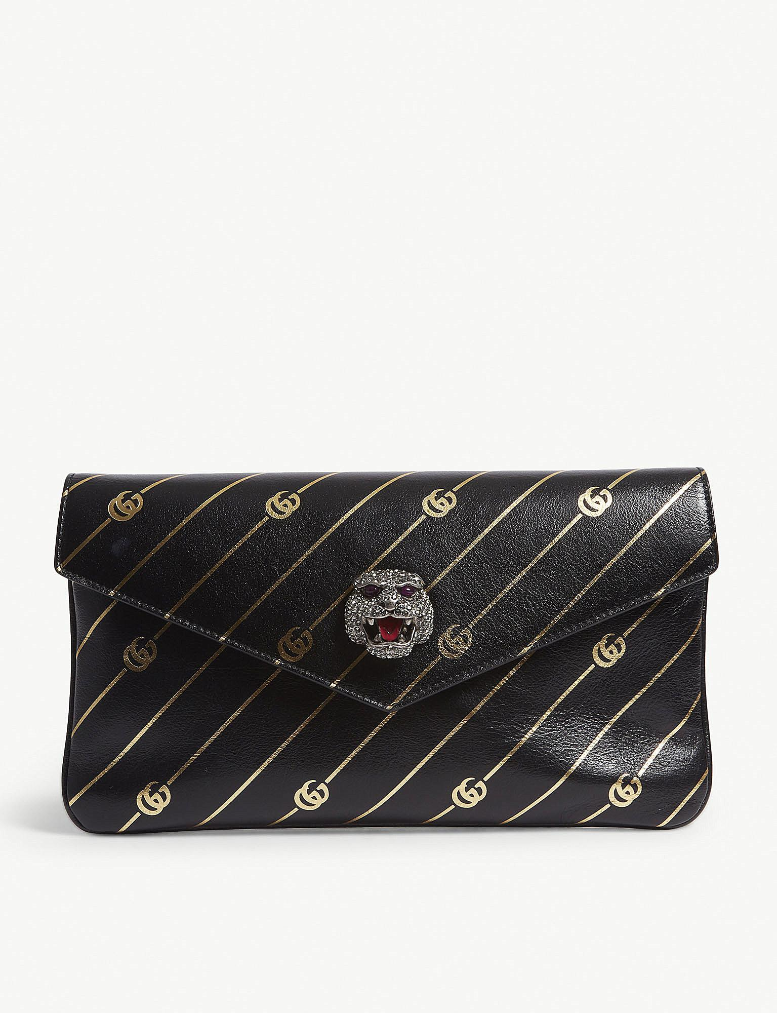 6bd0aee4b5b286 Gucci Broadway Crystal Panther Leather Clutch in Black - Lyst