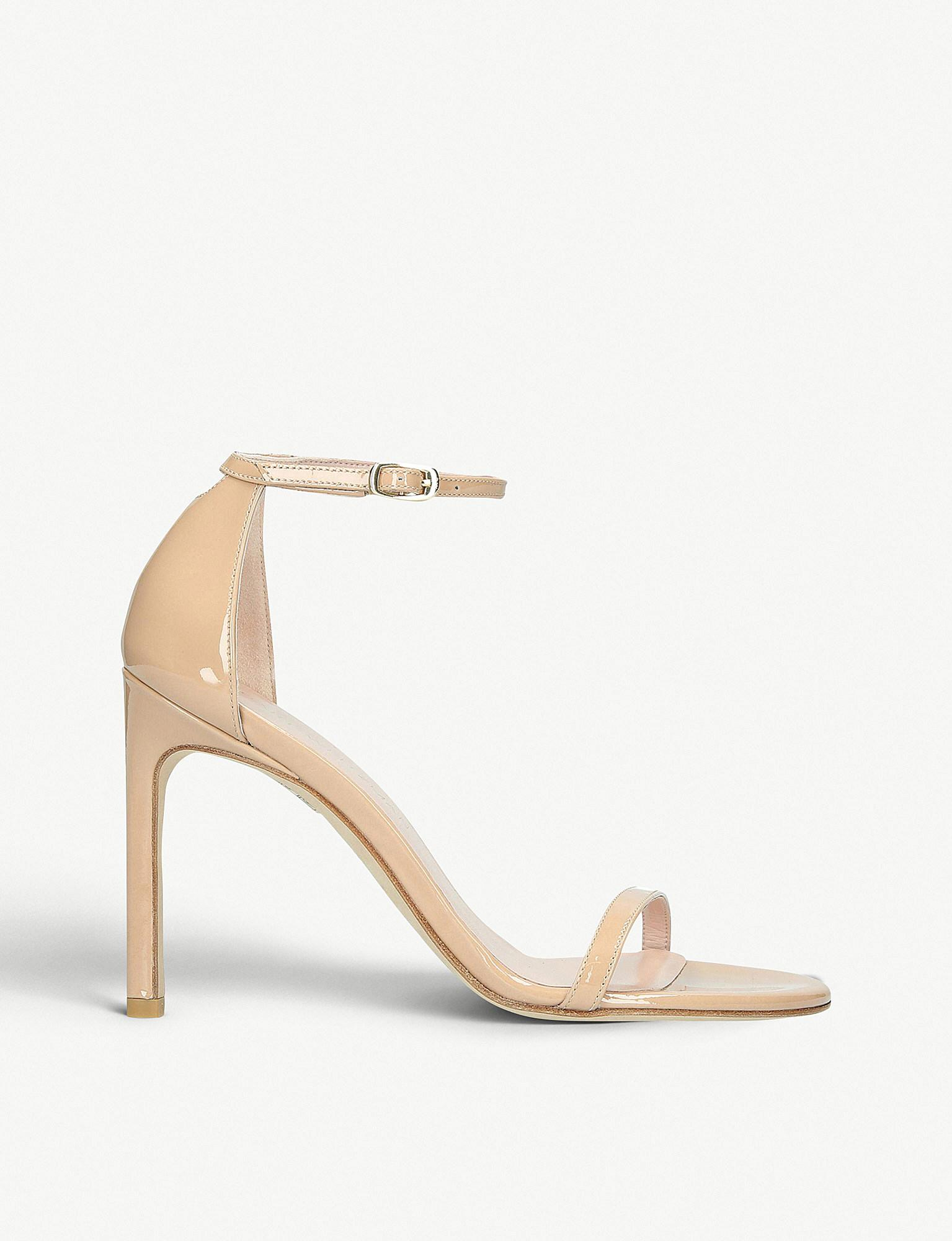 3780af9daffe Lyst - Stuart Weitzman Nudistsong Patent-leather Two-part Sandals