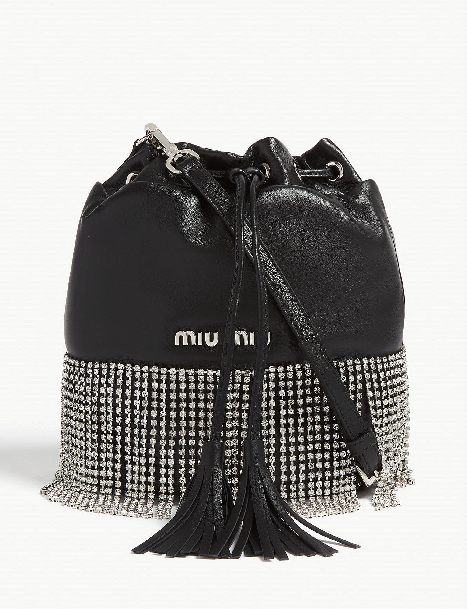 cbd6d1974d8 Lyst - Miu Miu Crystal Fringe Leather Bucket Bag in Black