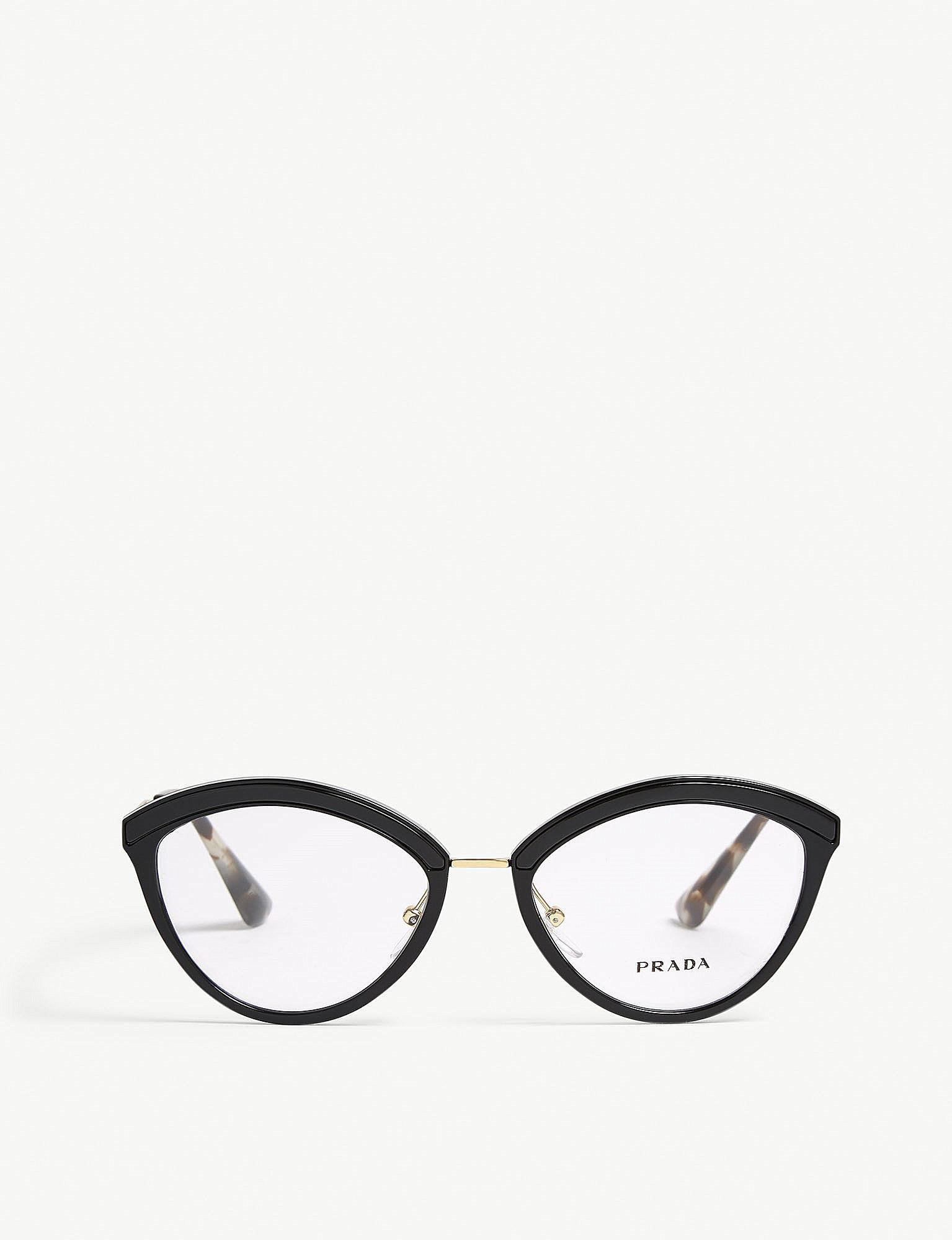 2f21a2bea98 Lyst - Prada Womens Black Pr14uv Oval-frame Glasses in Black