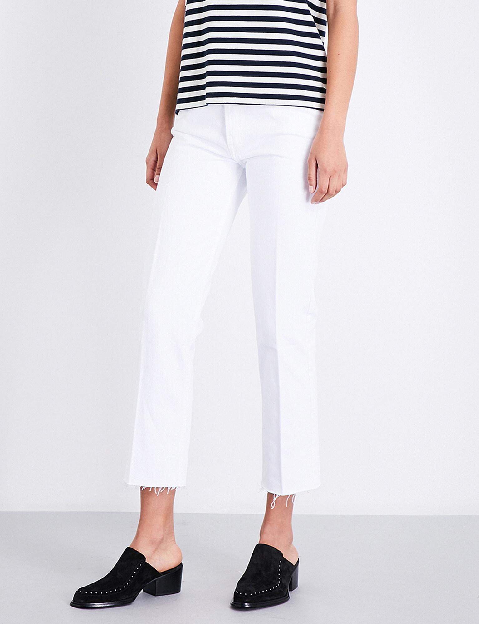 85ce5d5eb121 Lyst - RE DONE Stove Pipe Straight Cropped High-rise Jeans in White