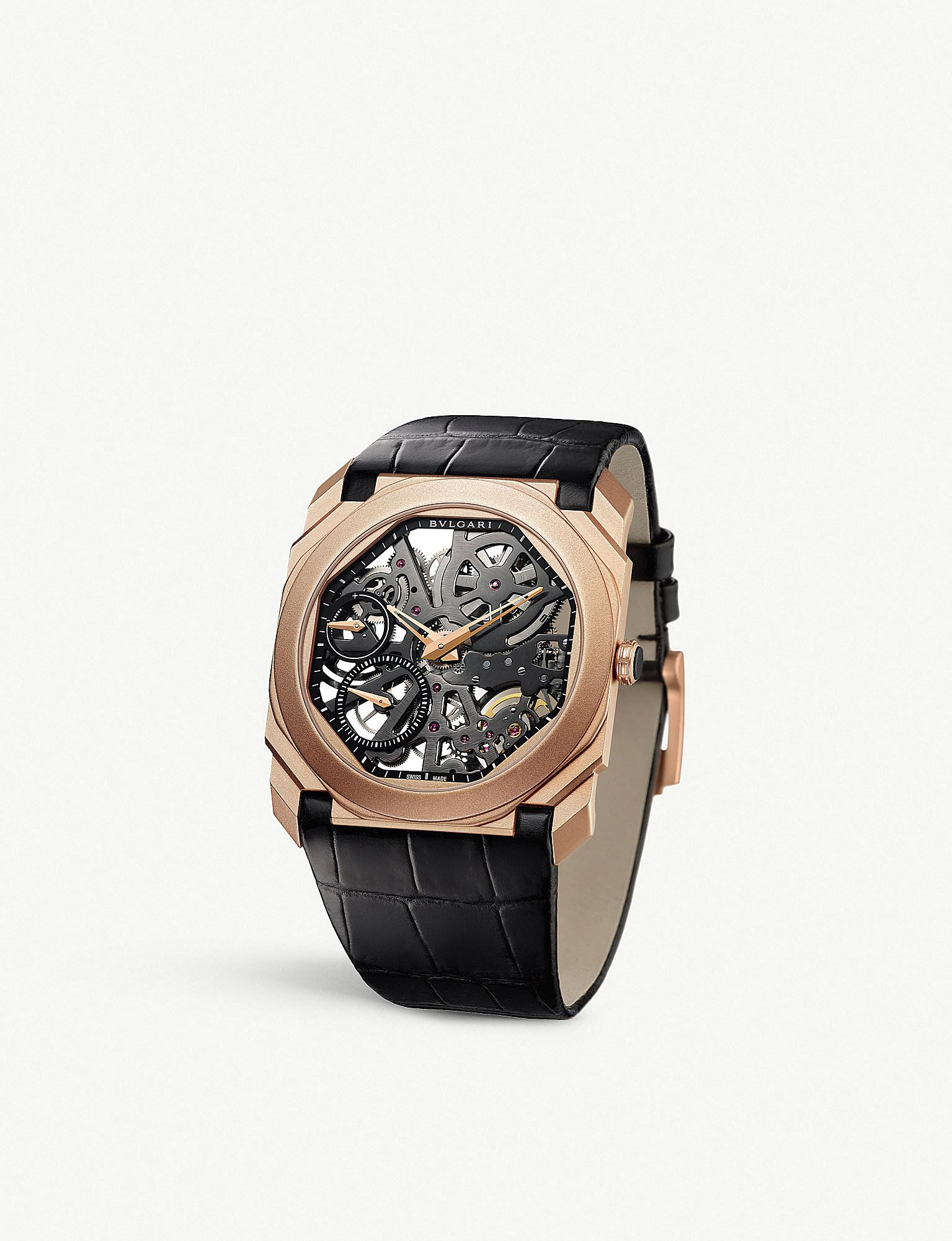 0d08a94c4ad BVLGARI. Men s Pink Octo Finissimo 18ct Rose-gold And Alligator-leather  Watch