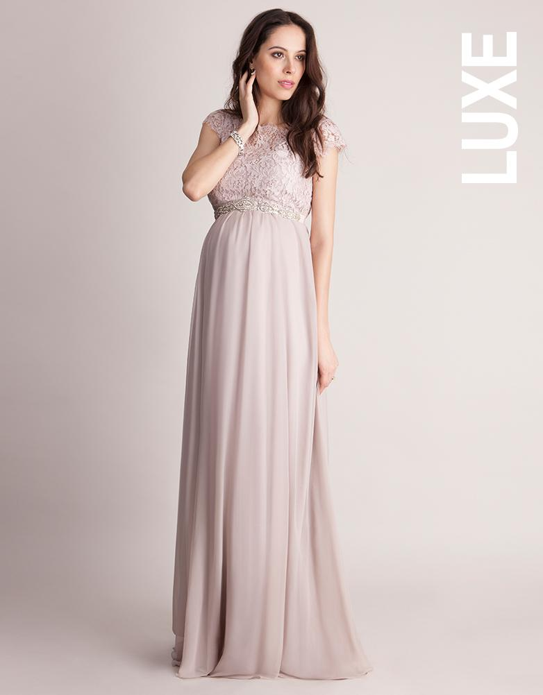17ba185c678c9 Lyst - Seraphine Blush Silk & Eyelash Lace Maternity Gown in Pink