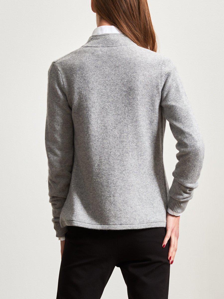 d63b82d05cadb8 Shanghai Tang Cashmere Cardigan With Chinese Tales Silk Lining in Gray -  Lyst