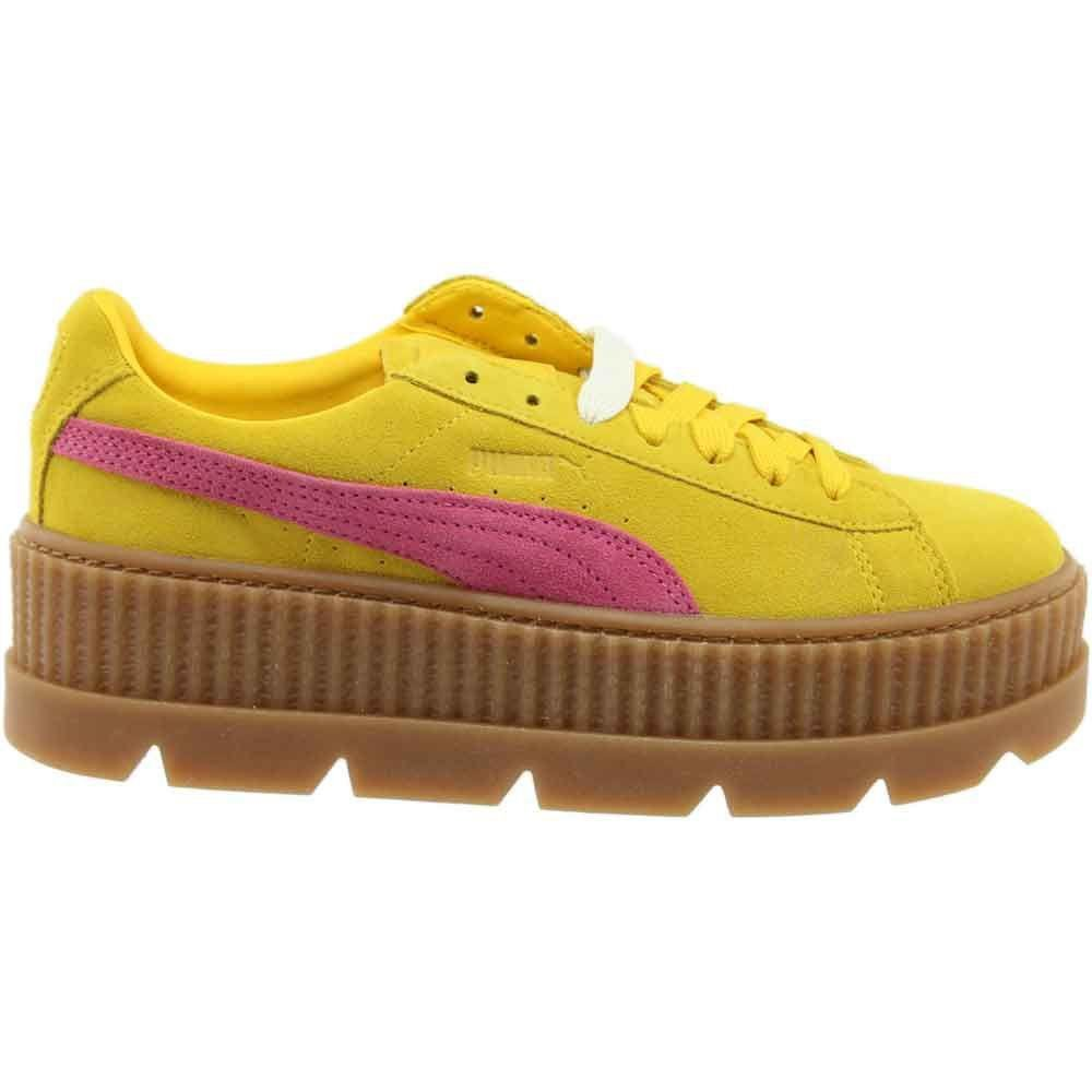 PUMA - Yellow Fenty By Rihanna Suede Cleated Creeper - Lyst. View fullscreen 09c94d324
