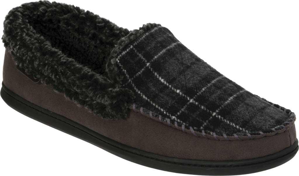 efeb12be929 Lyst - Dearfoams Microsuede Whipstitch Moccasin Slipper in Black for Men