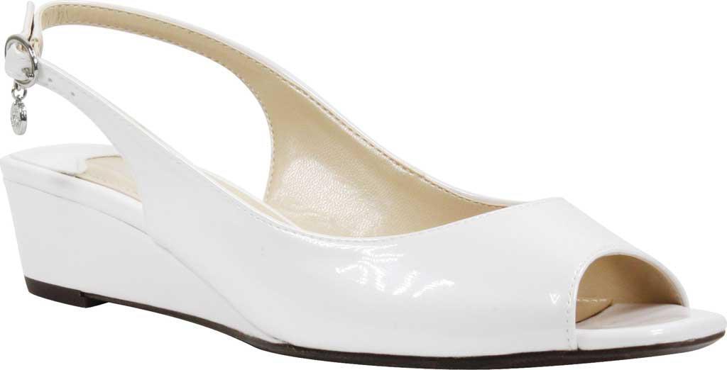 J. Renee Alivia Patent Leather Slingback Peep-Toe Dress Wedges FceJVBz1