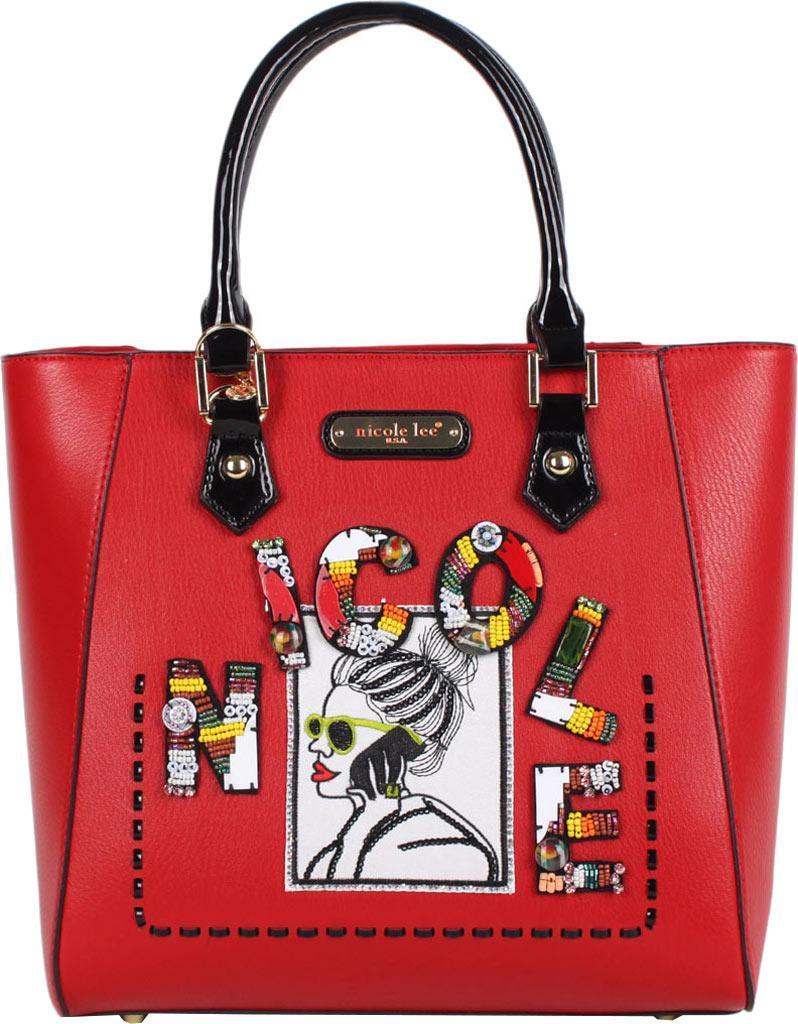 Lyst - Nicole Lee Jezebel Beaded Patch Shopper Bag in Red 63653aa8e20ac
