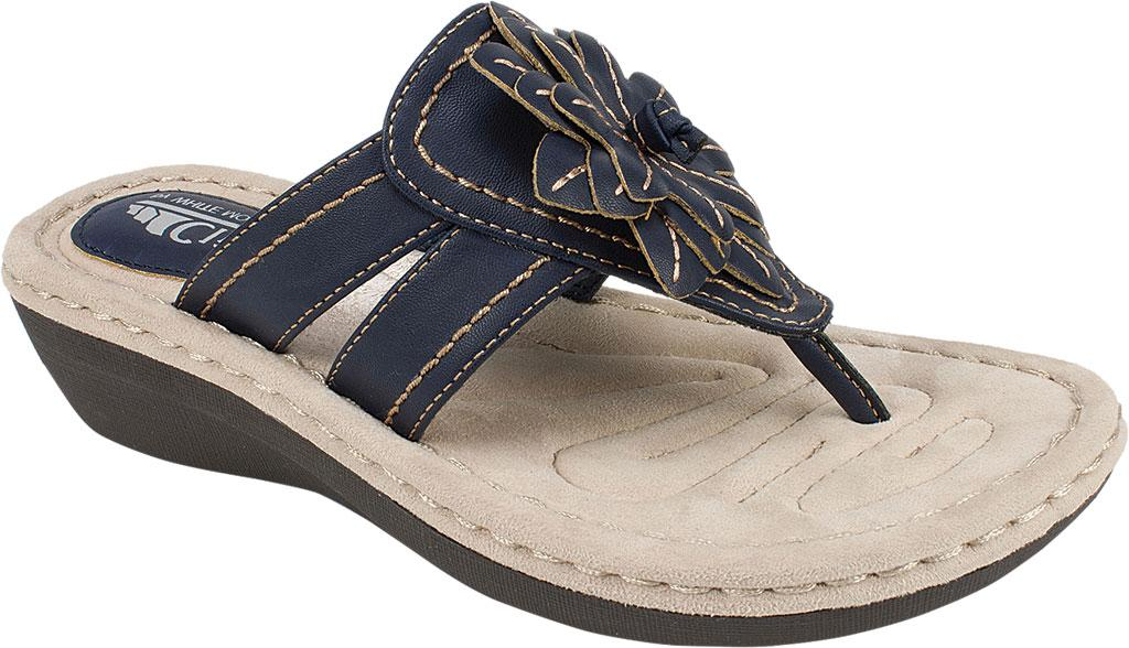 fdee266f85c5 Lyst - White Mountain Footwear Cupcake Thong Wedge Sandal in Blue