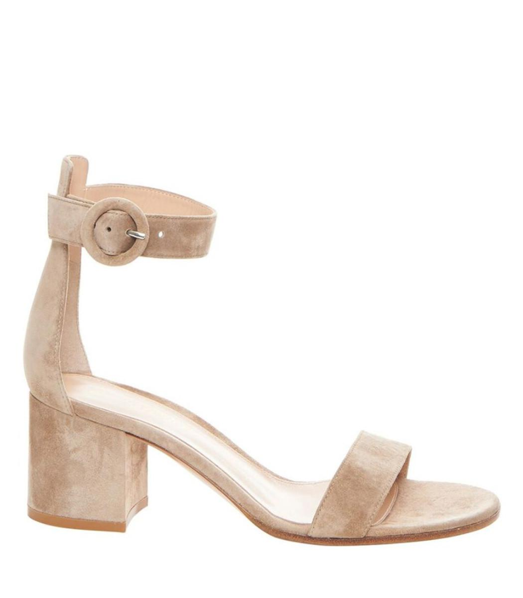 3a2c4a0b0cea3 Lyst - Gianvito Rossi Nude Suede Heeled Sandal in Natural - Save ...