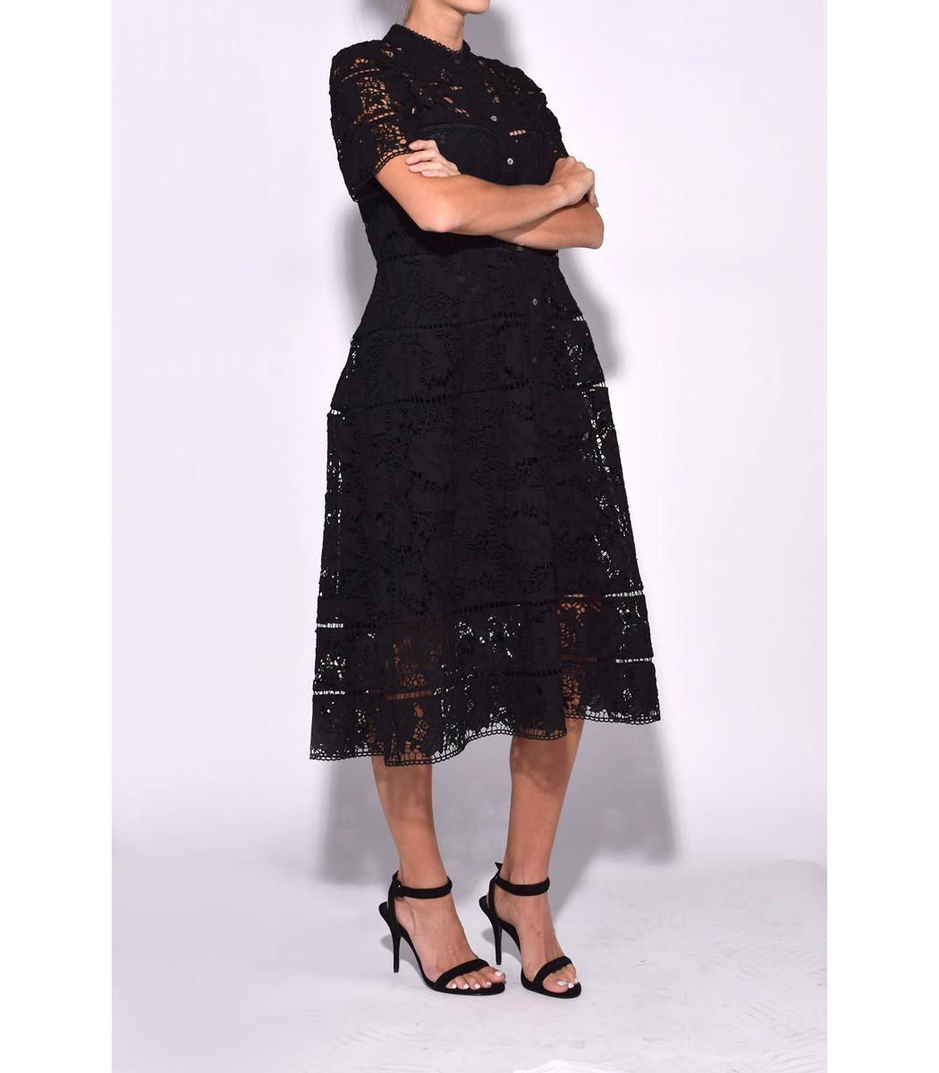 23353a1f4e2 Zimmermann Black 'gossamer' Bell Lace Shirt Dress in Black - Lyst