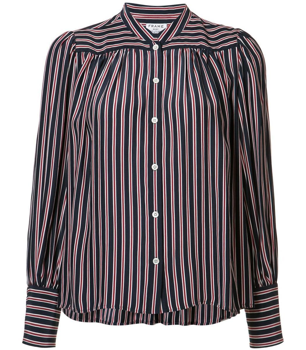 Frame navy red striped button down shirt in blue lyst for Red and white striped button down shirt