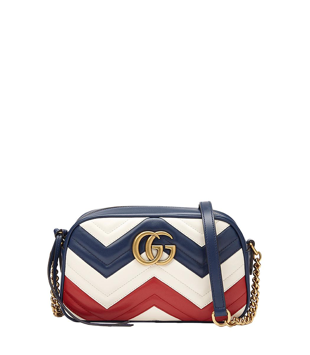d2a85736591 Lyst - Gucci Red White   Blue  gg Marmont  Bag in Blue