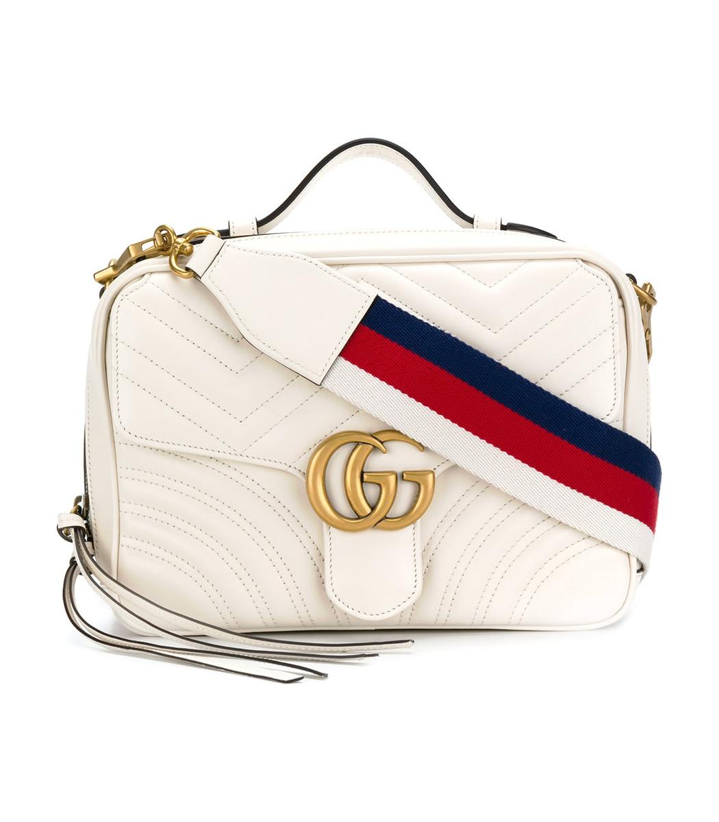 f65c87ac028 Lyst - Gucci White Gg Marmont Matelasse Camera Bag in White